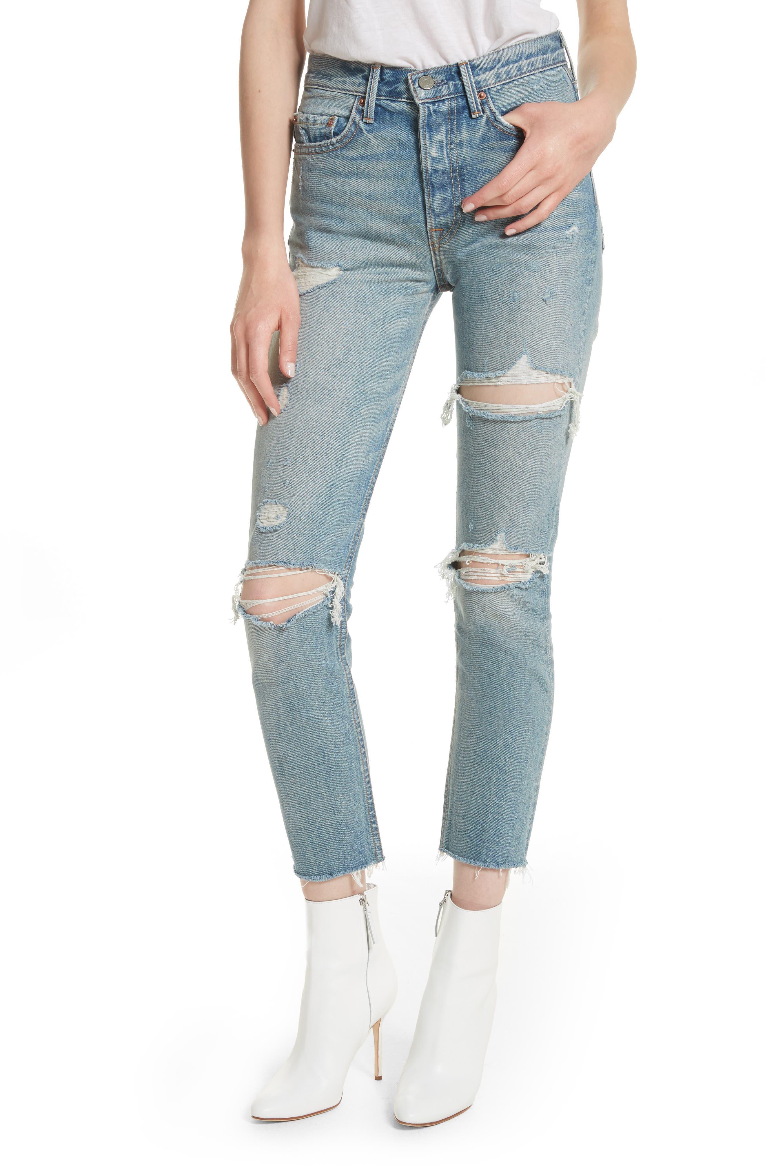 Main Image - GRLFRND Karolina Ripped Rigid High Waist Skinny Jeans (A Little More Love)