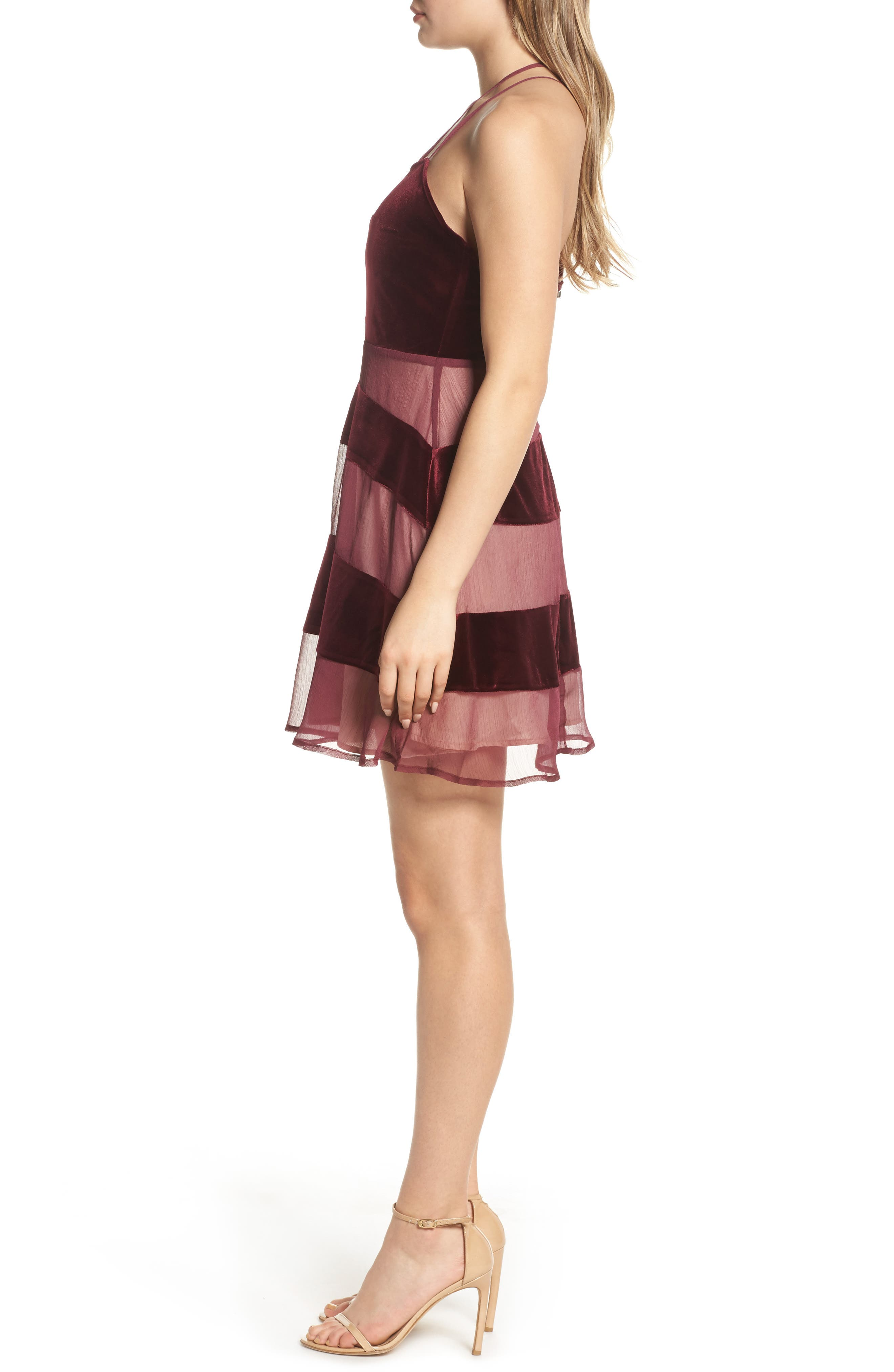 Alternate Image 3  - Foxiedox Dante Velvet & Gauze Halter Dress