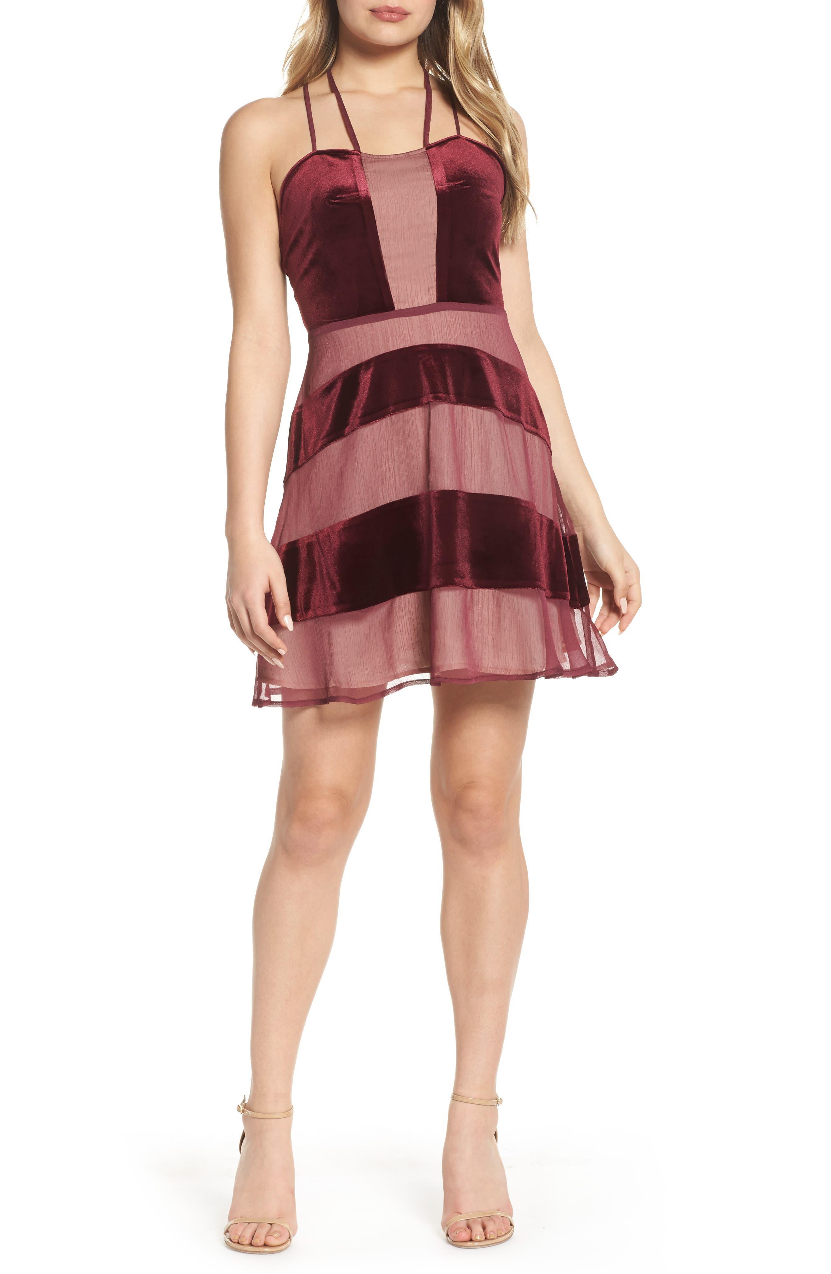 Main Image - Foxiedox Dante Velvet & Gauze Halter Dress
