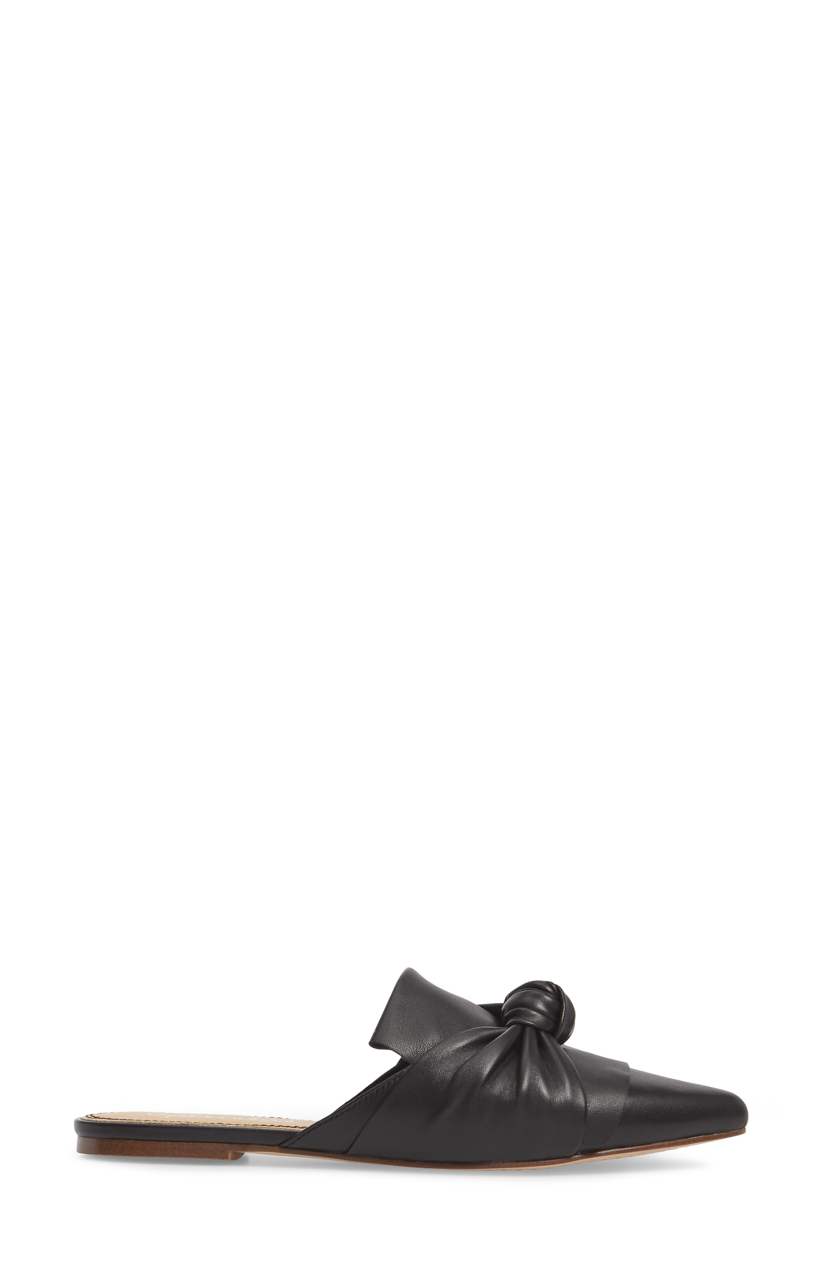 Bassett Knotted Pointy Toe Mule,                             Alternate thumbnail 3, color,                             Black Leather