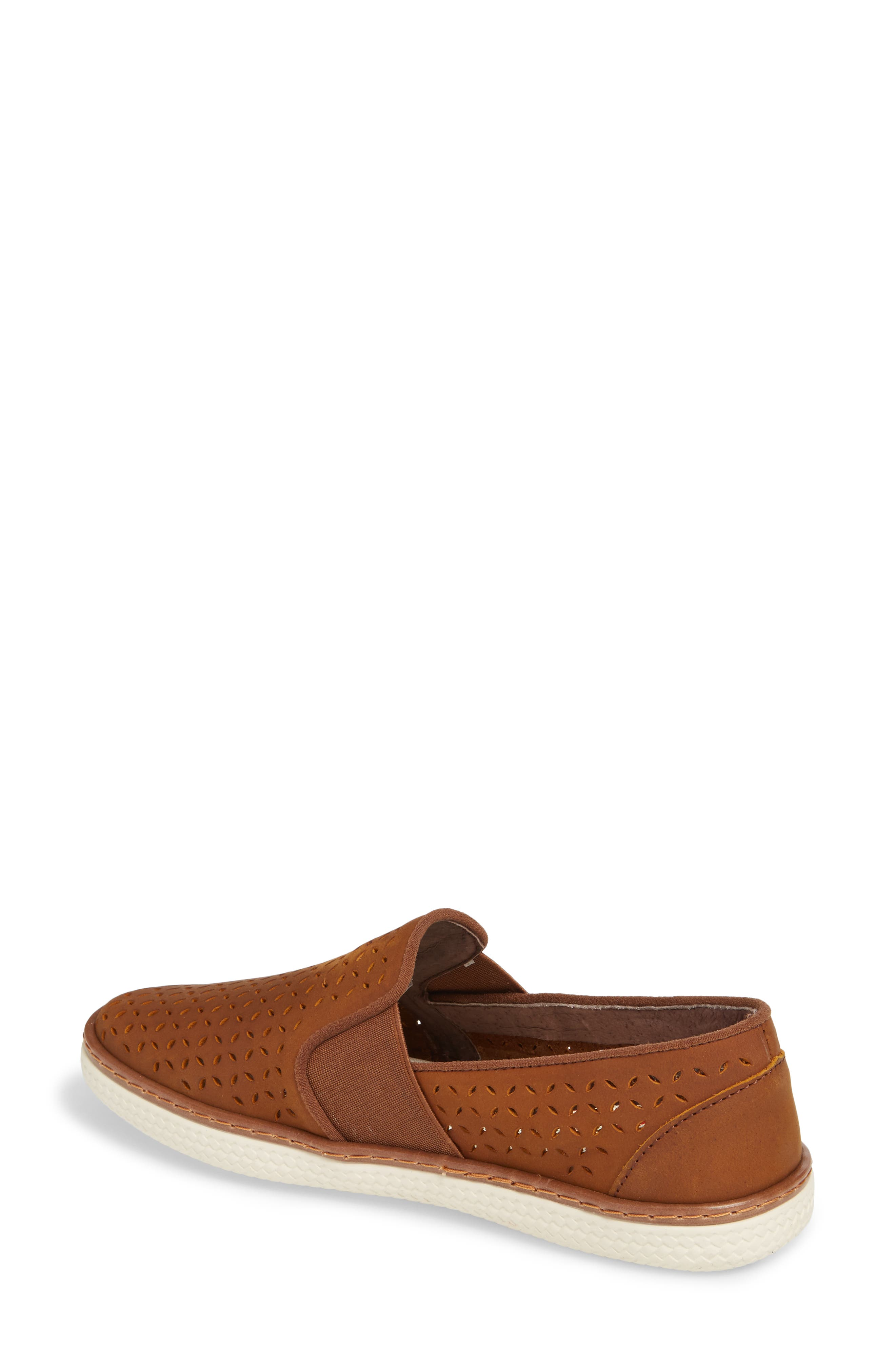 Jasper Perforated Loafer Flat,                             Alternate thumbnail 2, color,                             Brown Leather