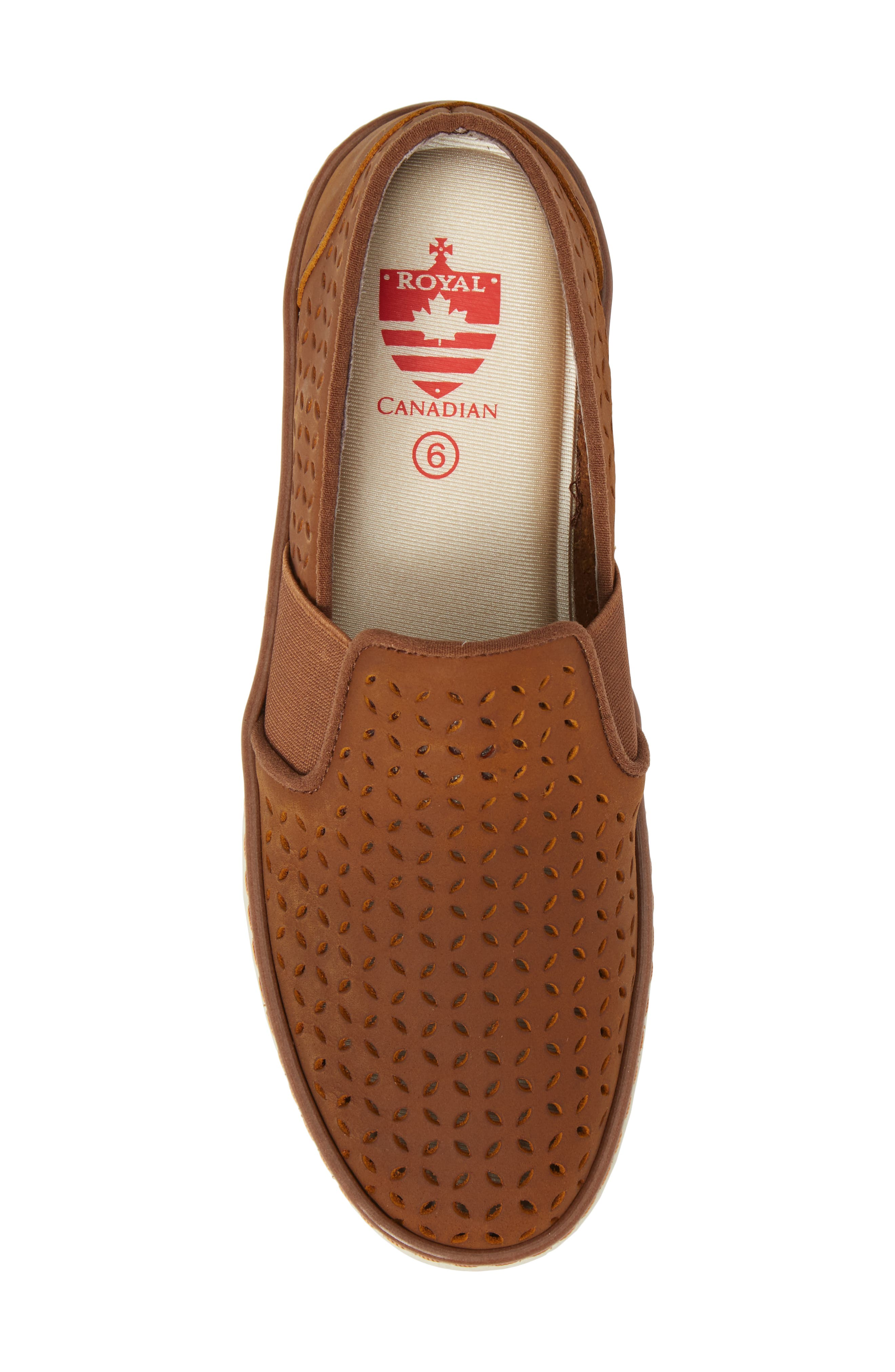 Jasper Perforated Loafer Flat,                             Alternate thumbnail 5, color,                             Brown Leather
