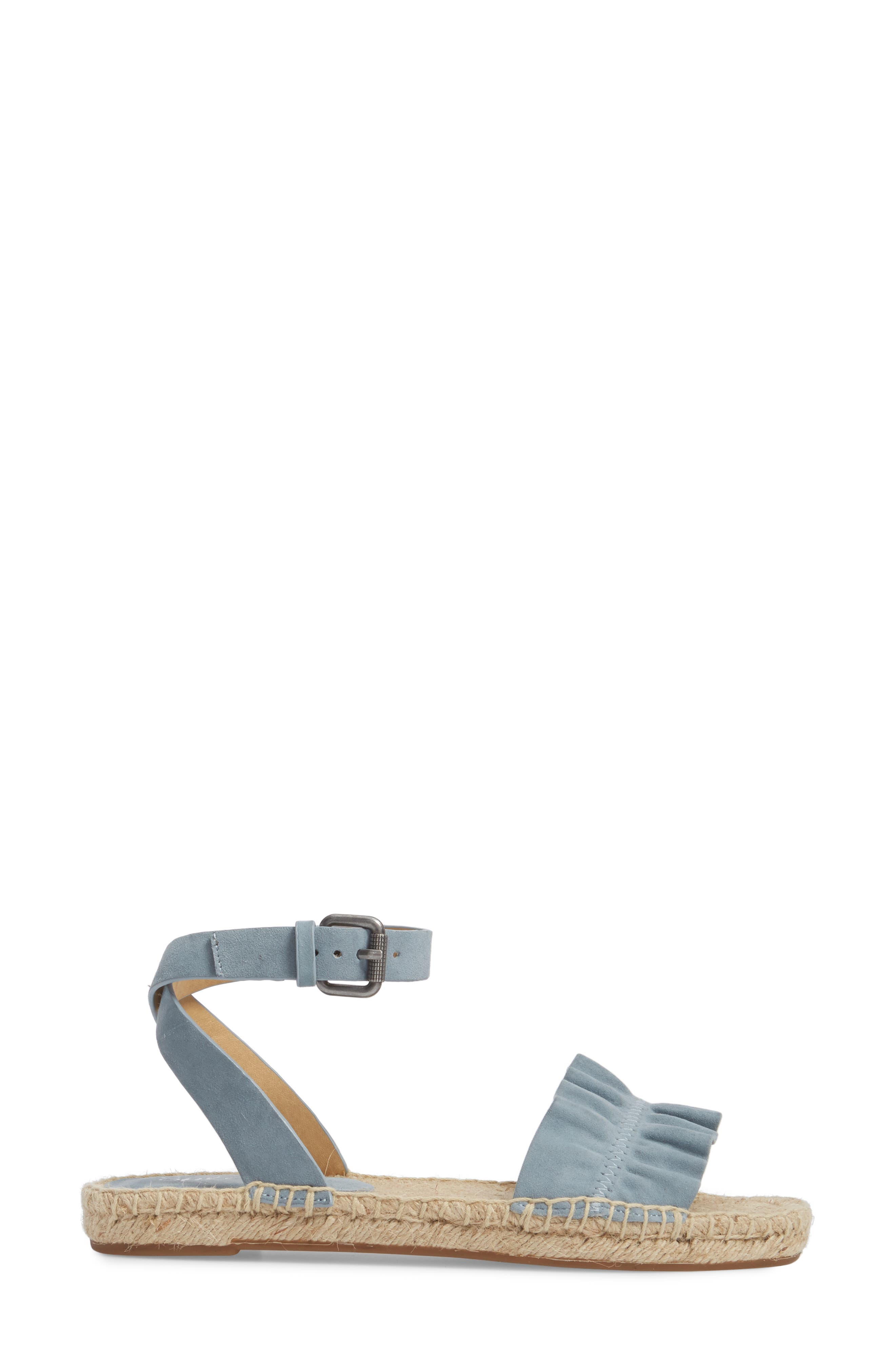 Becca Ruffled Espadrille Sandal,                             Alternate thumbnail 3, color,                             Shadow Blue Suede