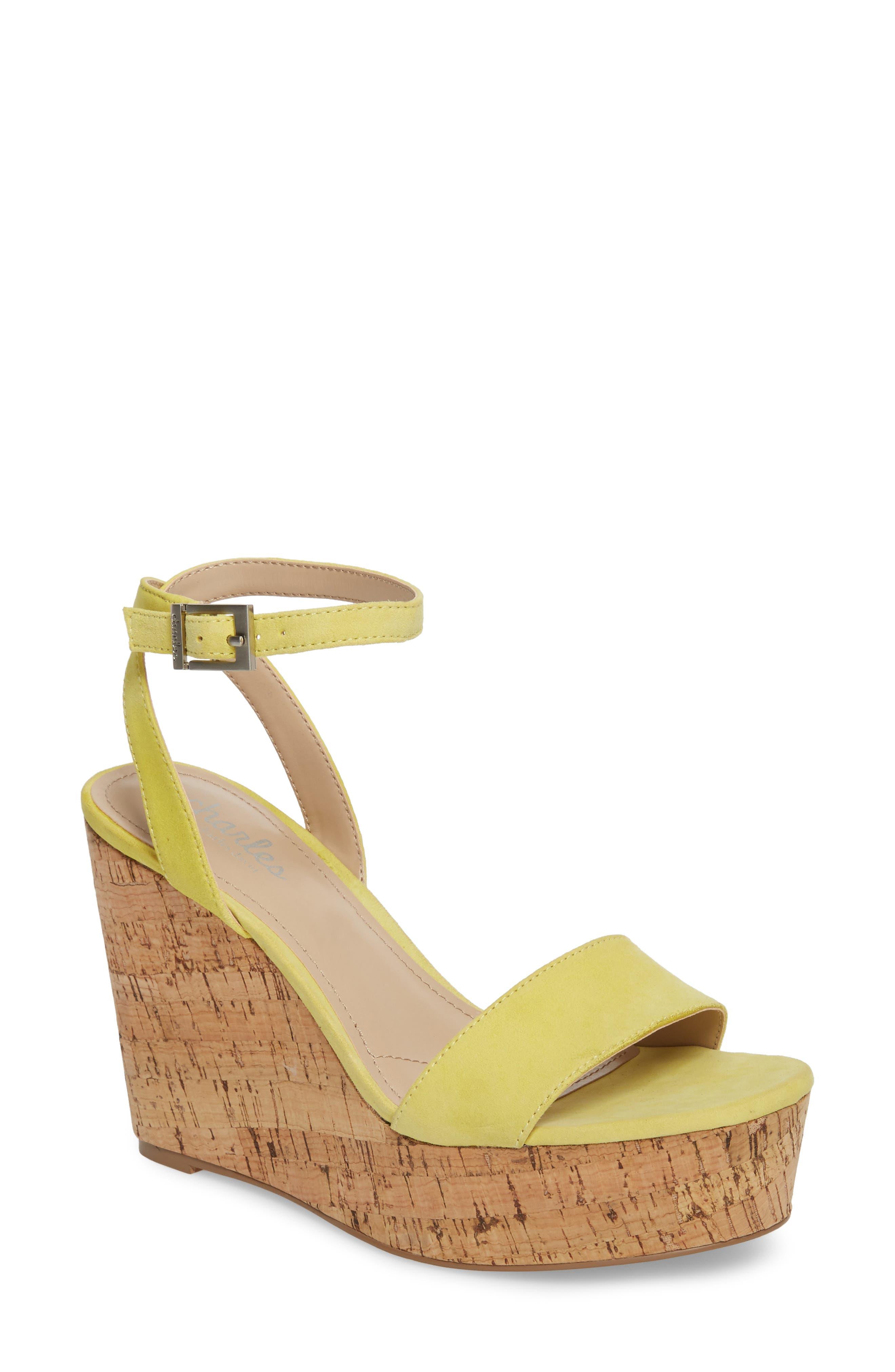 Lilla Platform Wedge Sandal,                             Main thumbnail 1, color,                             Yellow Suede