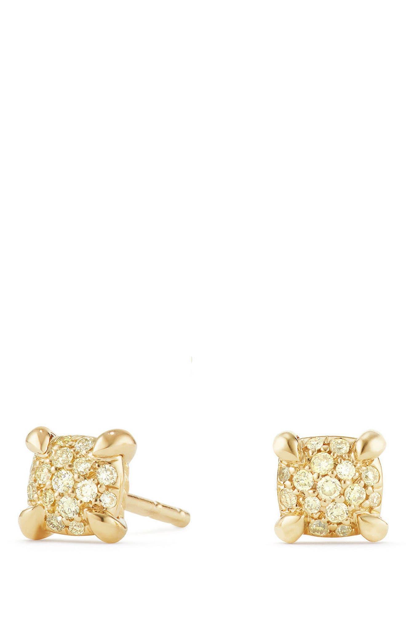 Châtelaine Stud Earrings with Diamonds,                         Main,                         color, Yellow Diamond