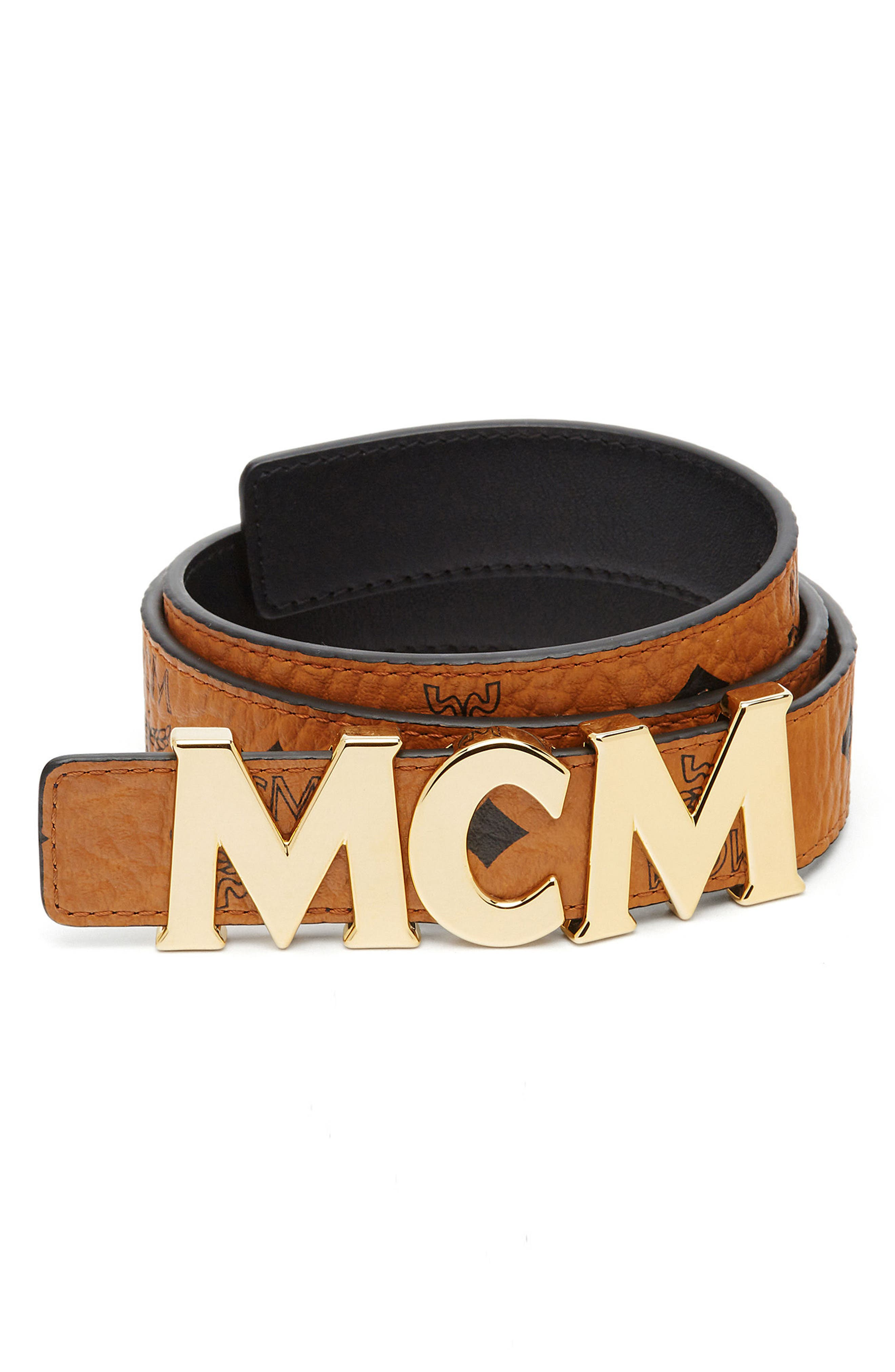 MCM Letter Reversible Coated Canvas/Leather Belt