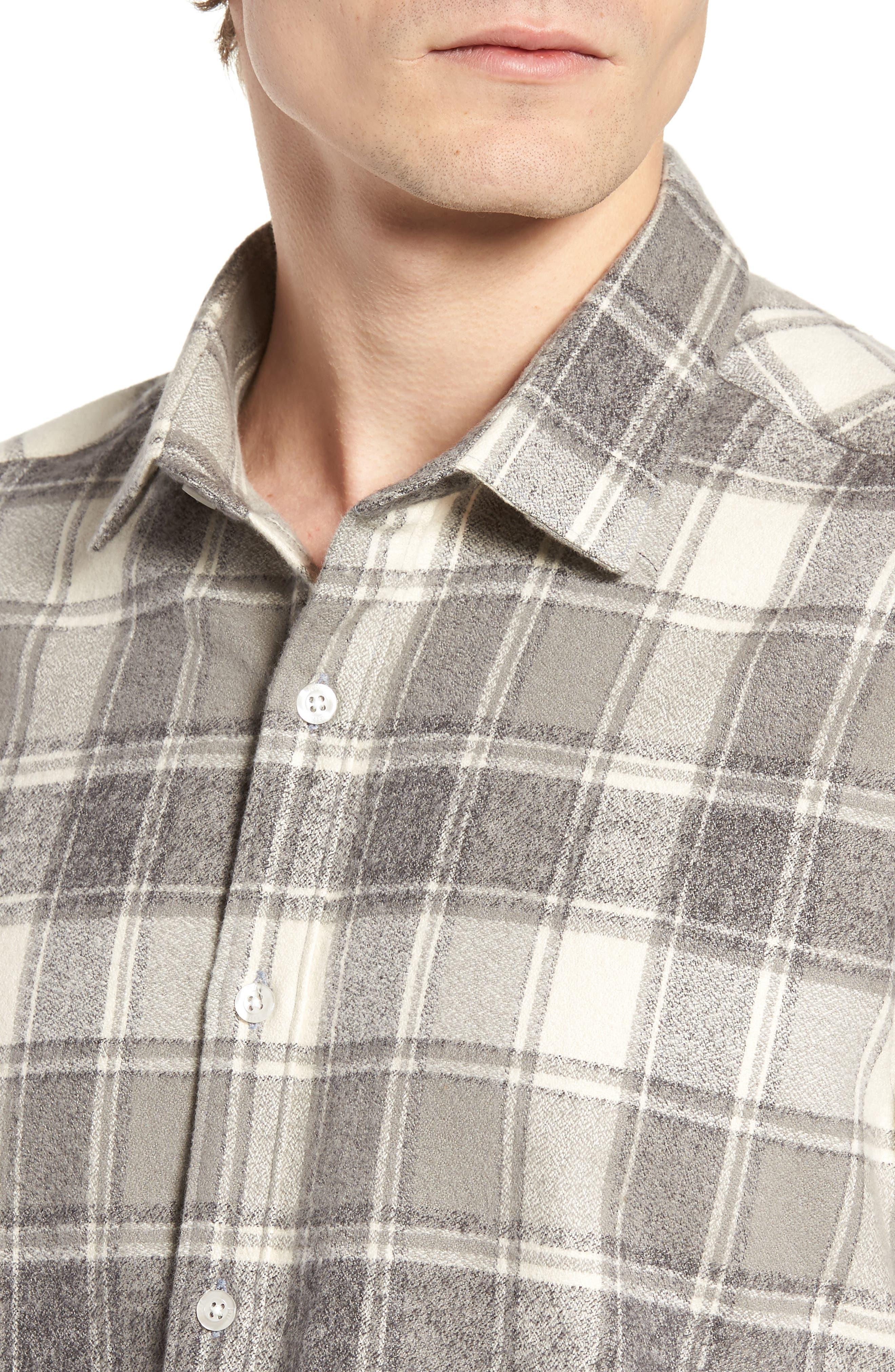 Ma Slim Fit Plaid Sport Shirt,                             Alternate thumbnail 4, color,                             Iron