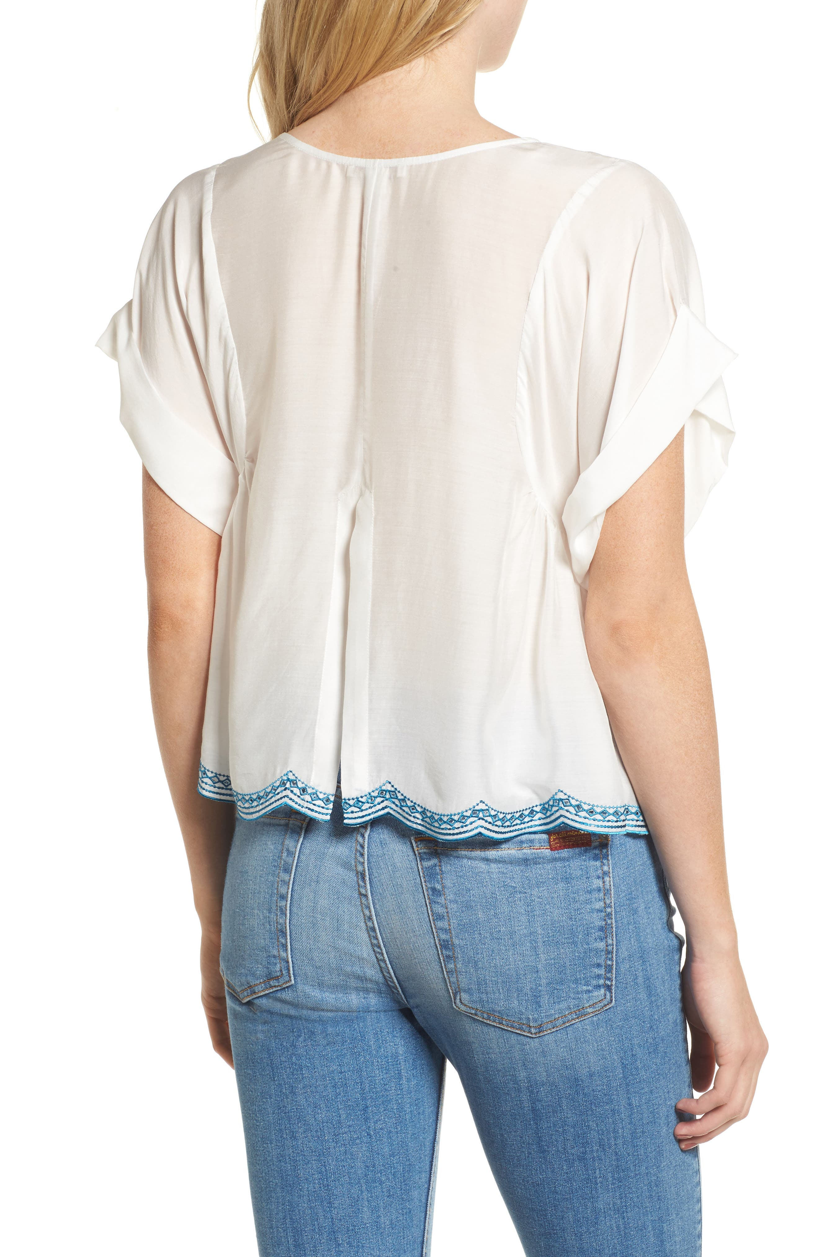 Embroidered Top,                             Alternate thumbnail 2, color,                             Natural