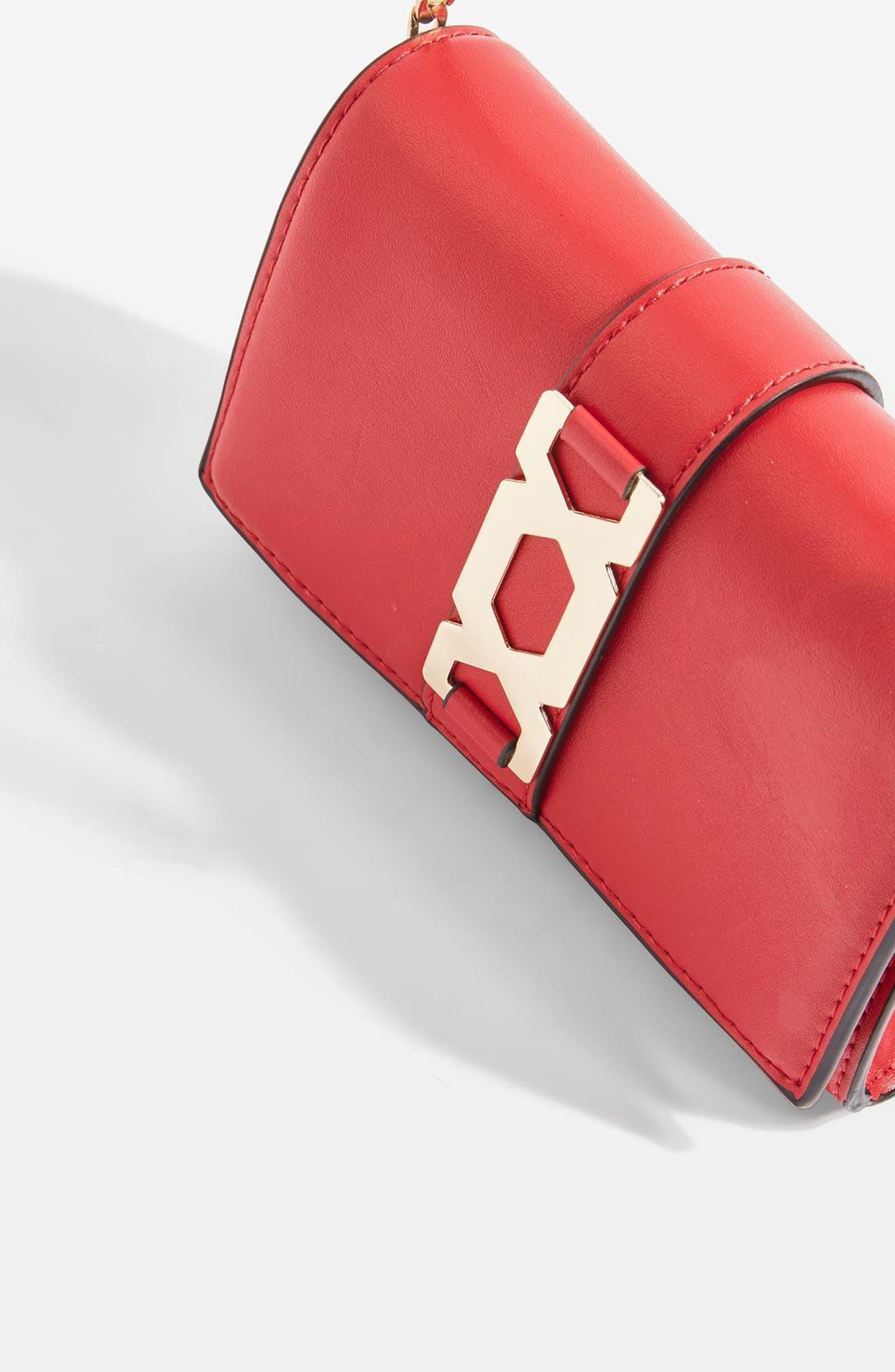 Rome Hex Hardware Crossbody Bag,                             Alternate thumbnail 4, color,                             Red