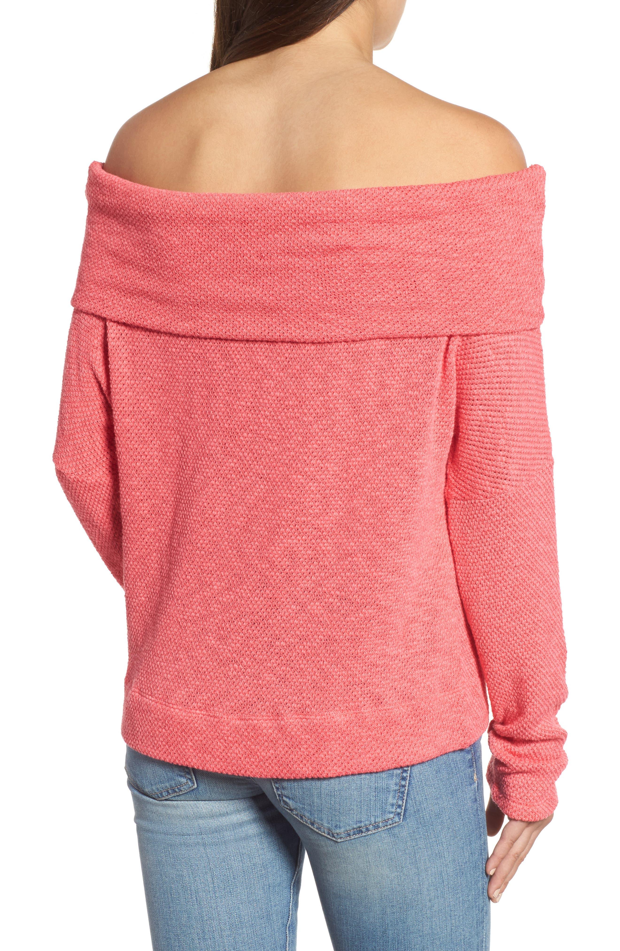 Convertible Neck Knit Pullover,                             Alternate thumbnail 3, color,                             Pink Ribbon