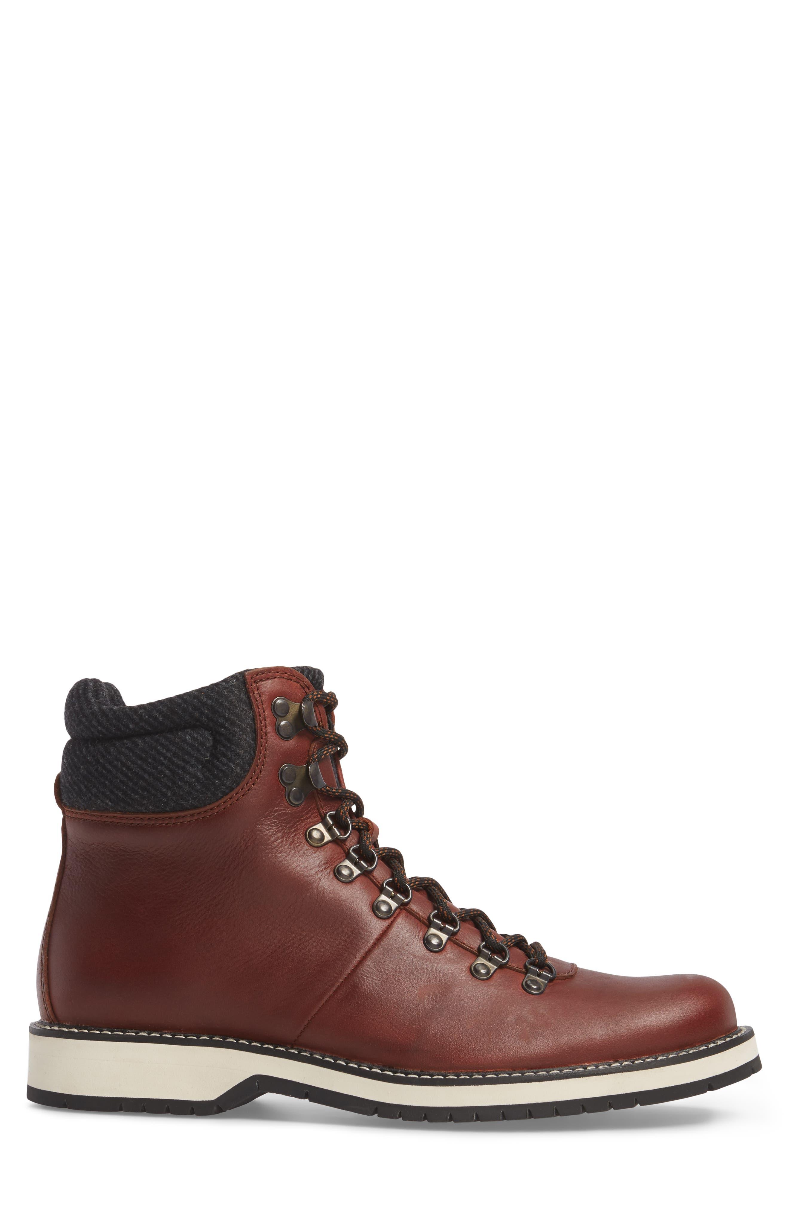 Sidney Waterproof Plain Toe Boot,                             Alternate thumbnail 3, color,                             Brown