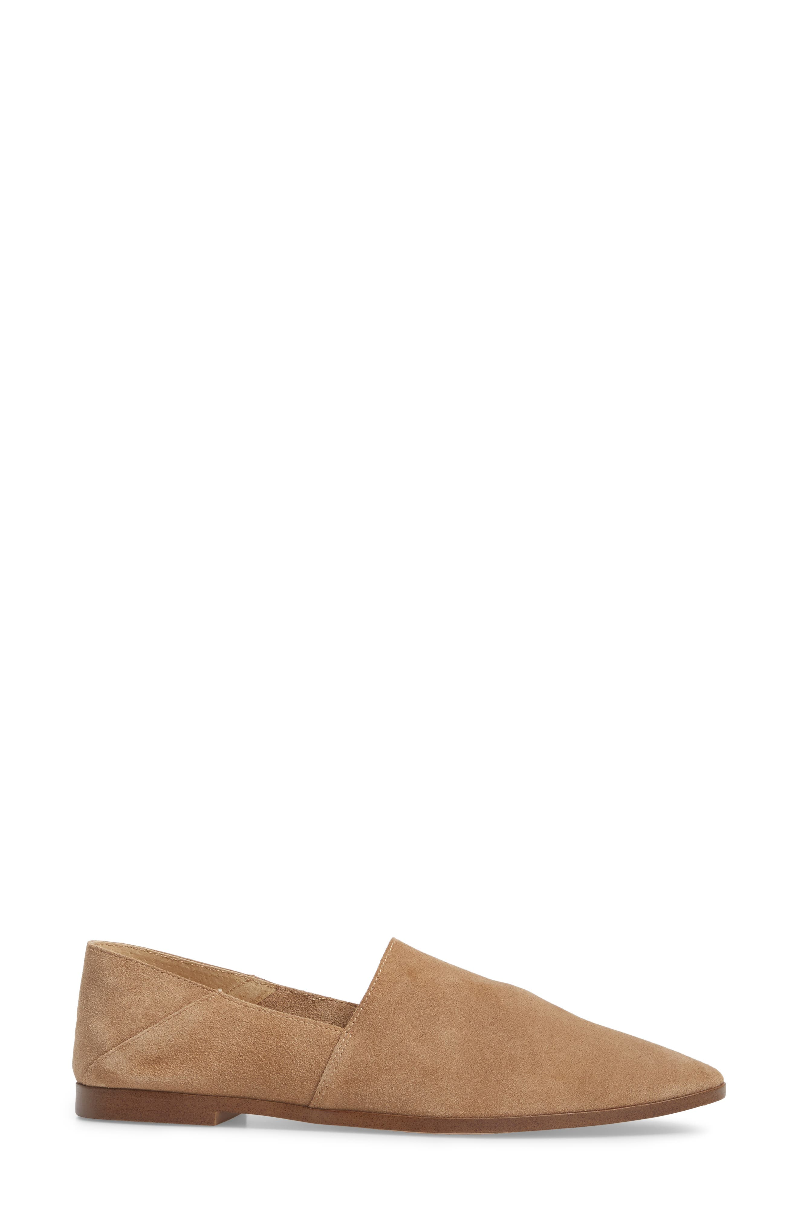 Babette Almond Toe Flat,                             Alternate thumbnail 3, color,                             Light Taupe Suede