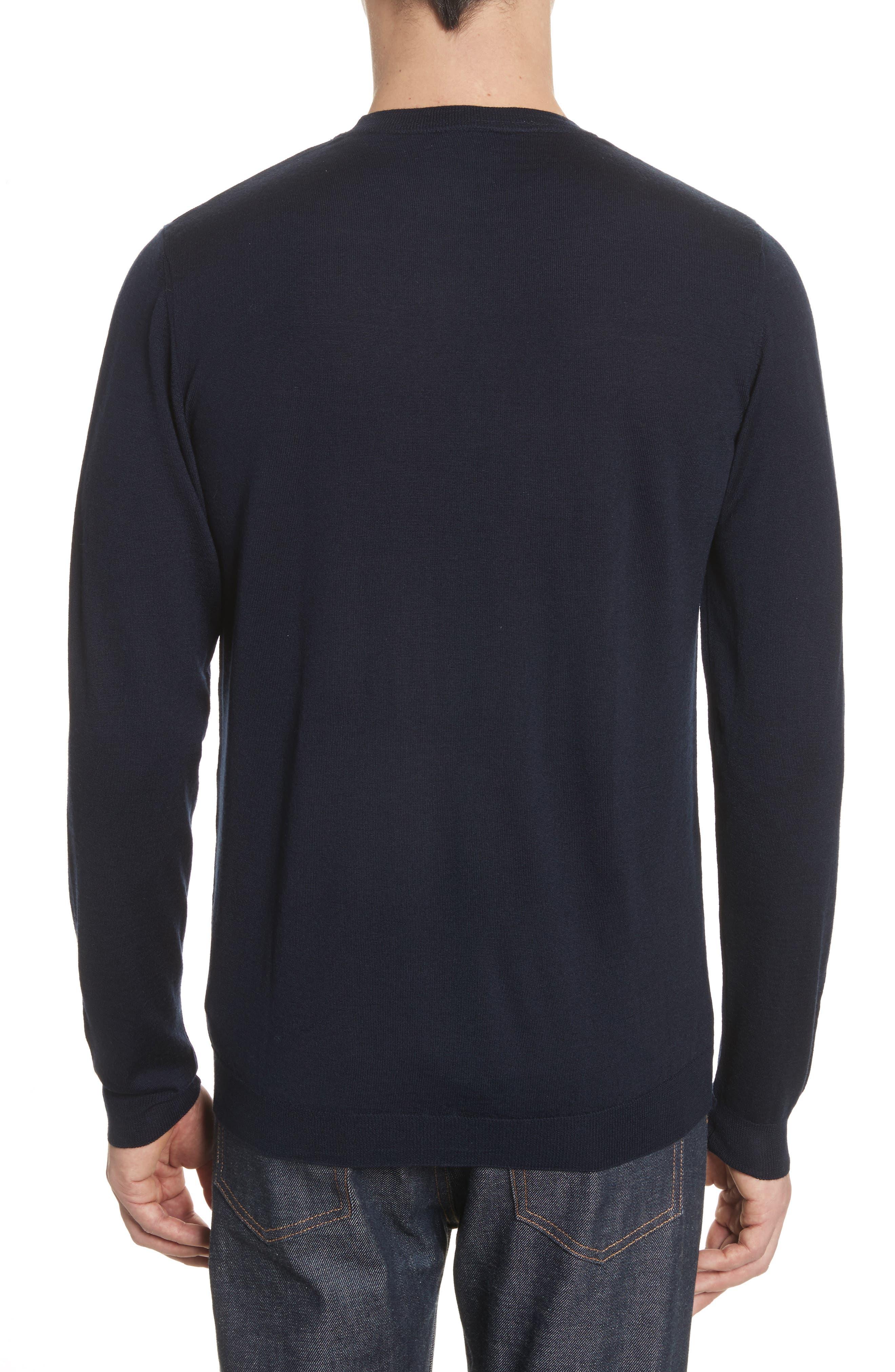 Sigfred Merino Wool & Silk Crewneck Sweater,                             Alternate thumbnail 2, color,                             Dark Navy