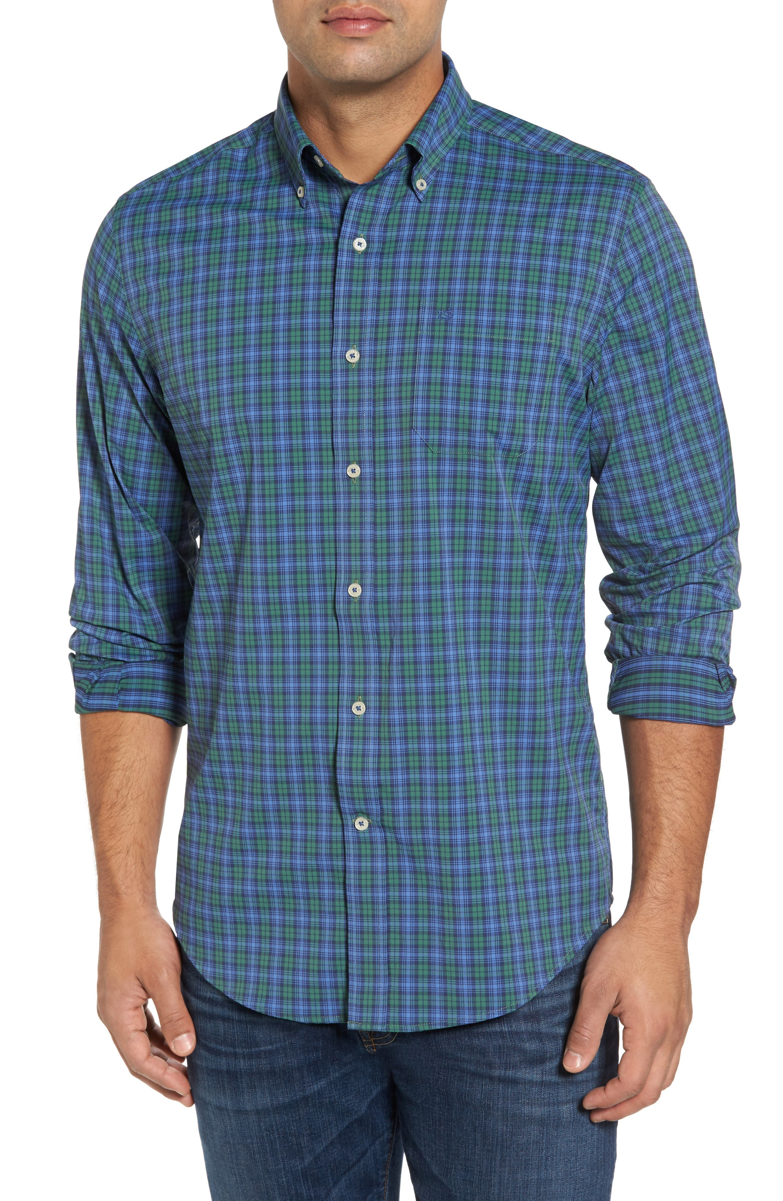 Southern Tide Drayton Hall Performance Classic Fit Plaid Sport Shirt