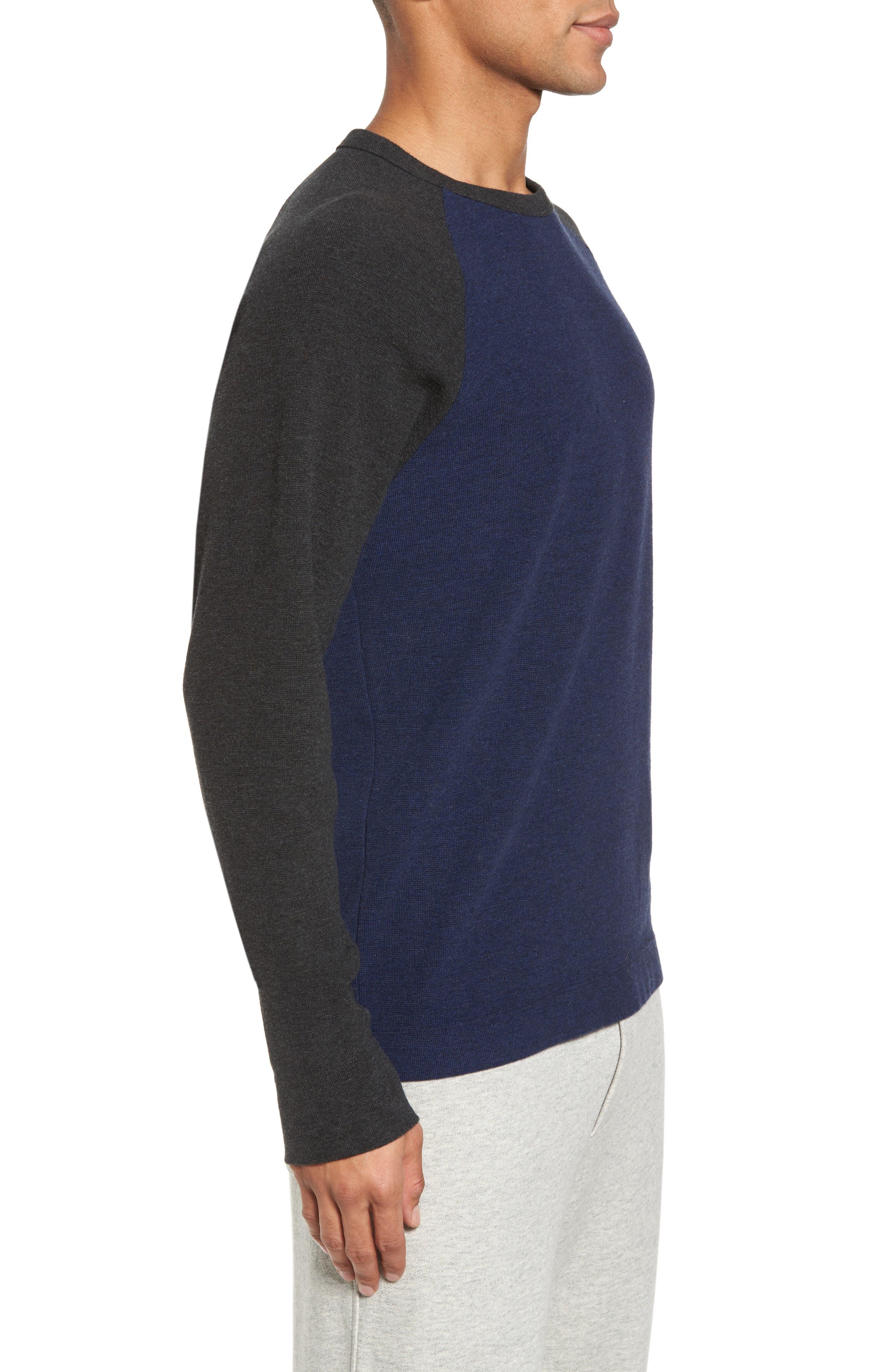 Thermal Knit Raglan Sweatshirt,                             Alternate thumbnail 3, color,                             Heather Navy/ Heather Charcoal