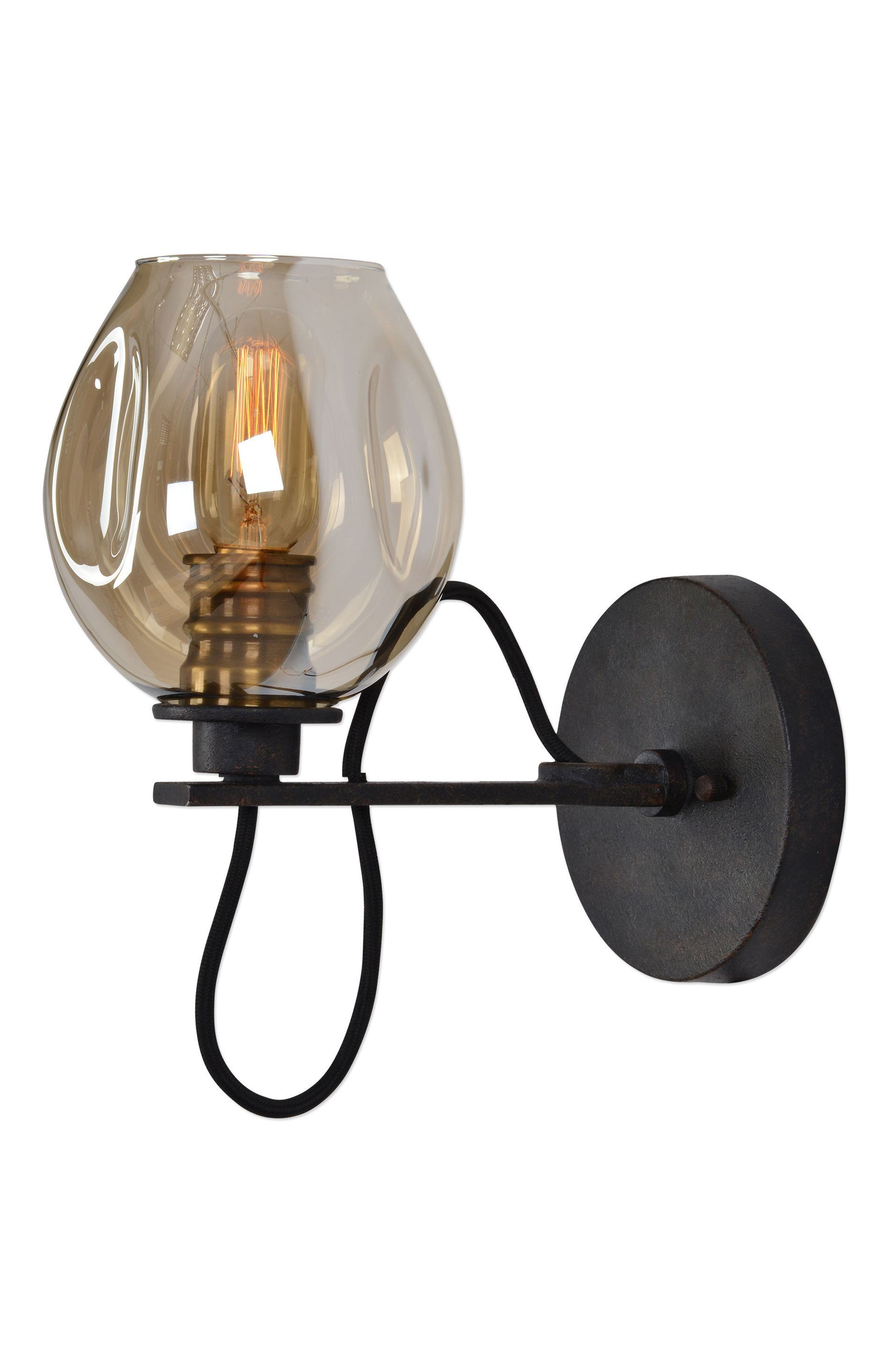Fritz Wall Sconce,                             Alternate thumbnail 3, color,                             Brown