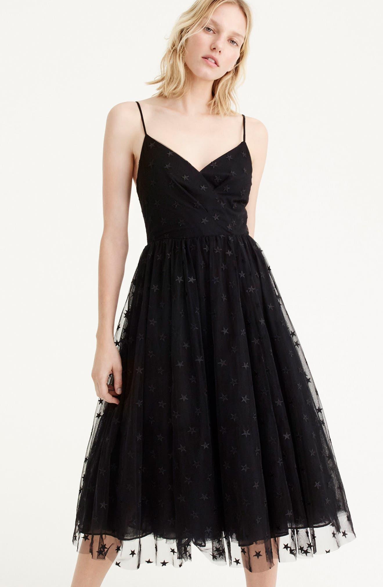 J.Crew Spaghetti Strap Star Tulle Dress,                             Alternate thumbnail 3, color,                             Black
