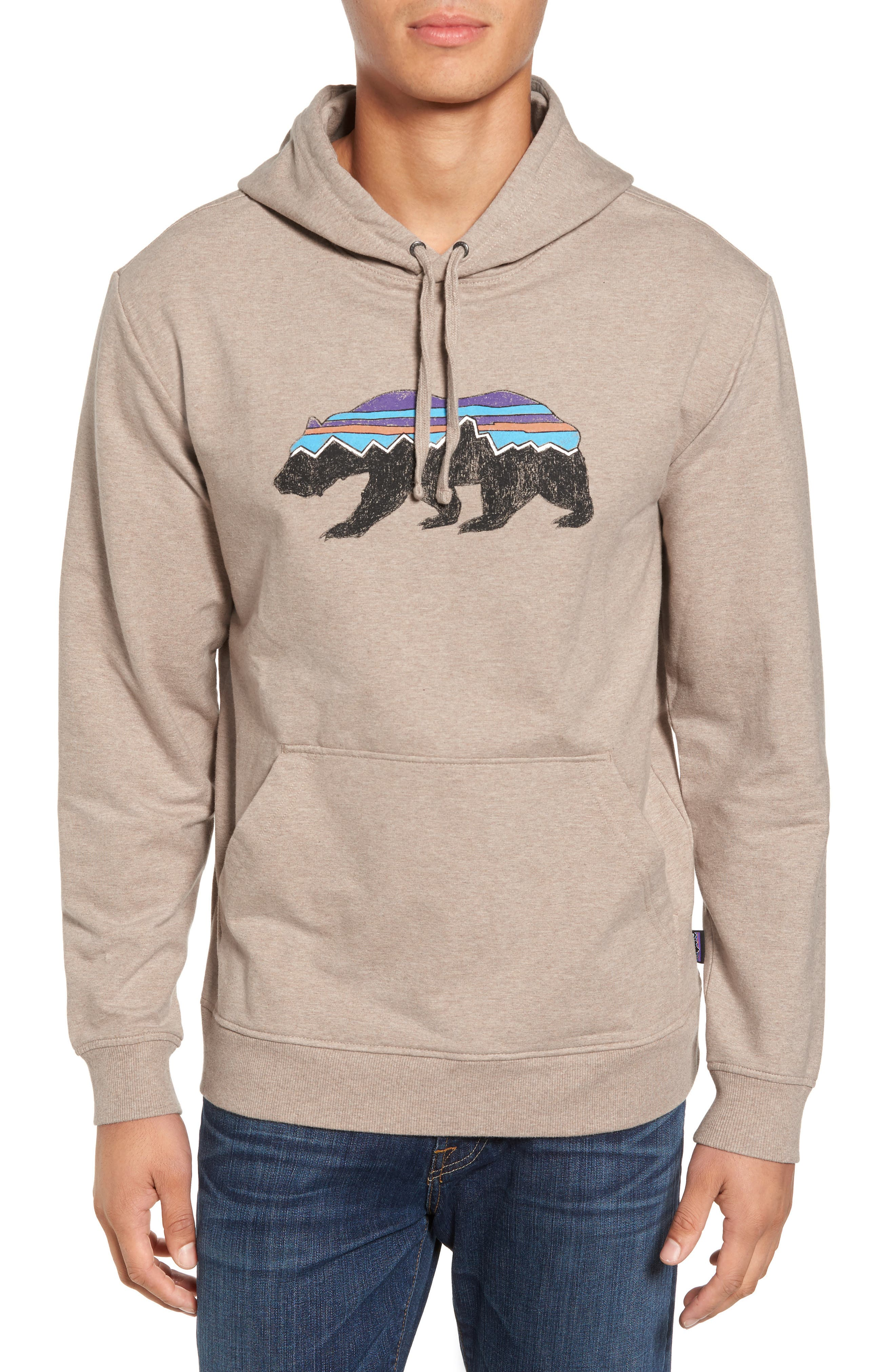Fitz Roy Bear Graphic Hoodie,                         Main,                         color, El Cap Khaki