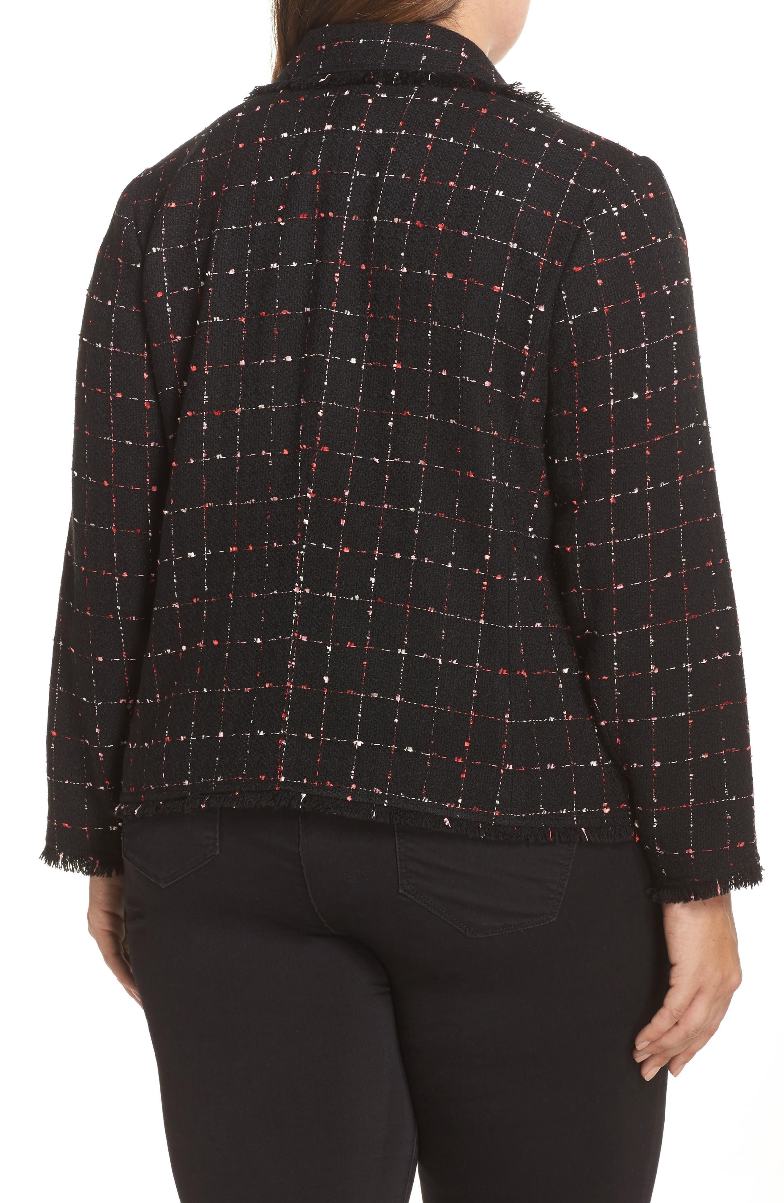 Spring Windowpane Tweed Jacket,                             Alternate thumbnail 3, color,                             Rich Black
