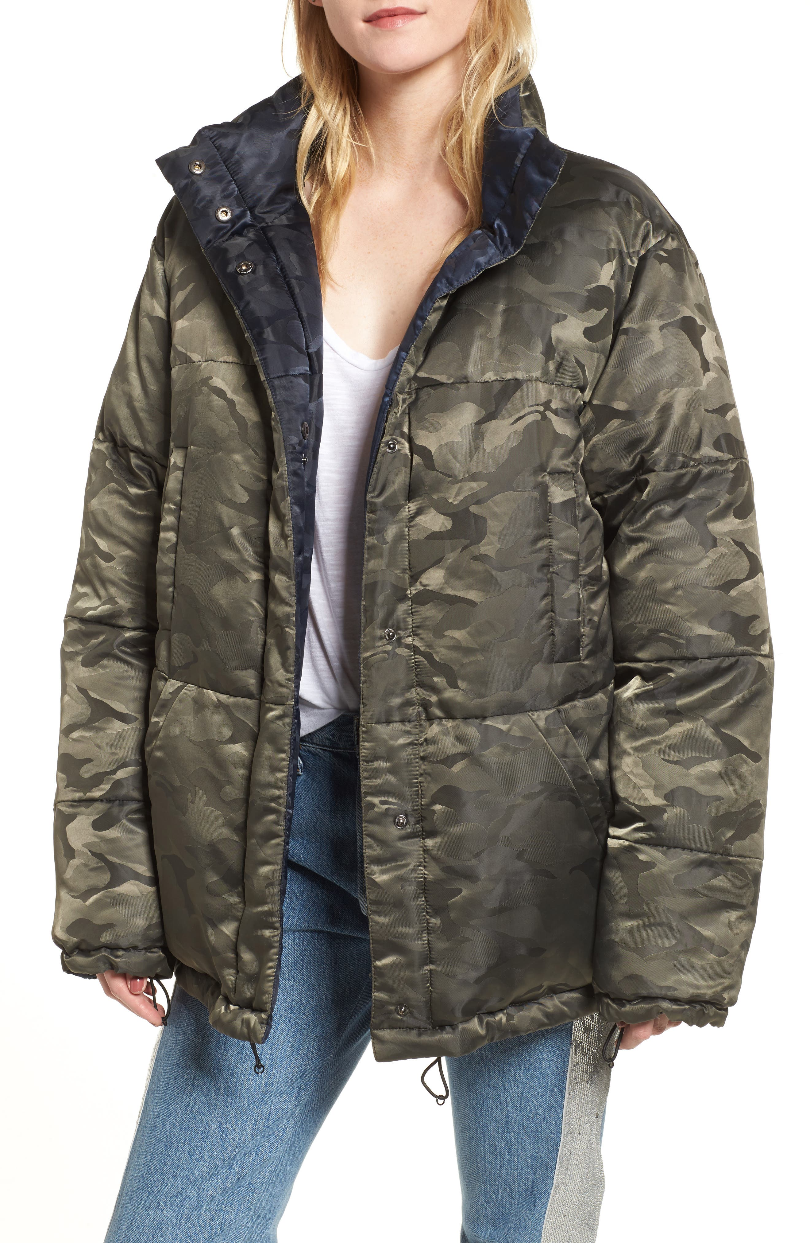 Reversible Puffer Jacket,                         Main,                         color, Army/ Navy