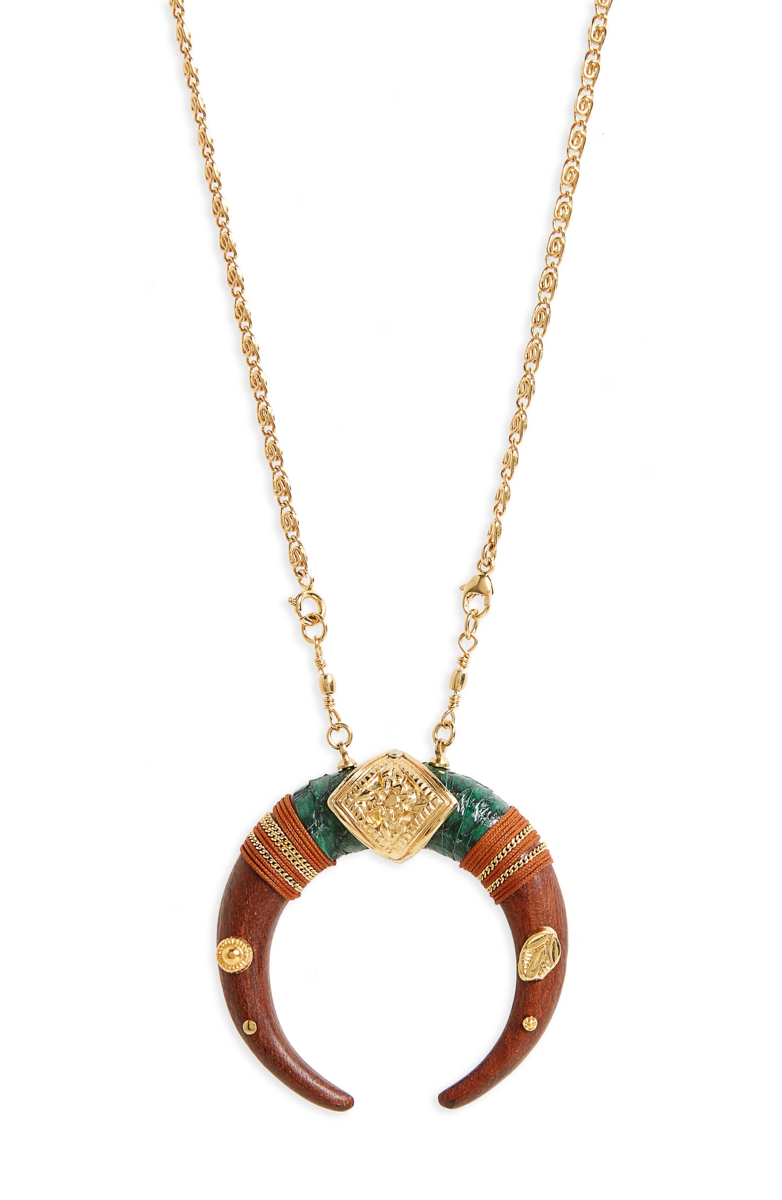 Scapulaire Juan Convertible Pendant Necklace,                             Alternate thumbnail 3, color,                             Brown/ Gold