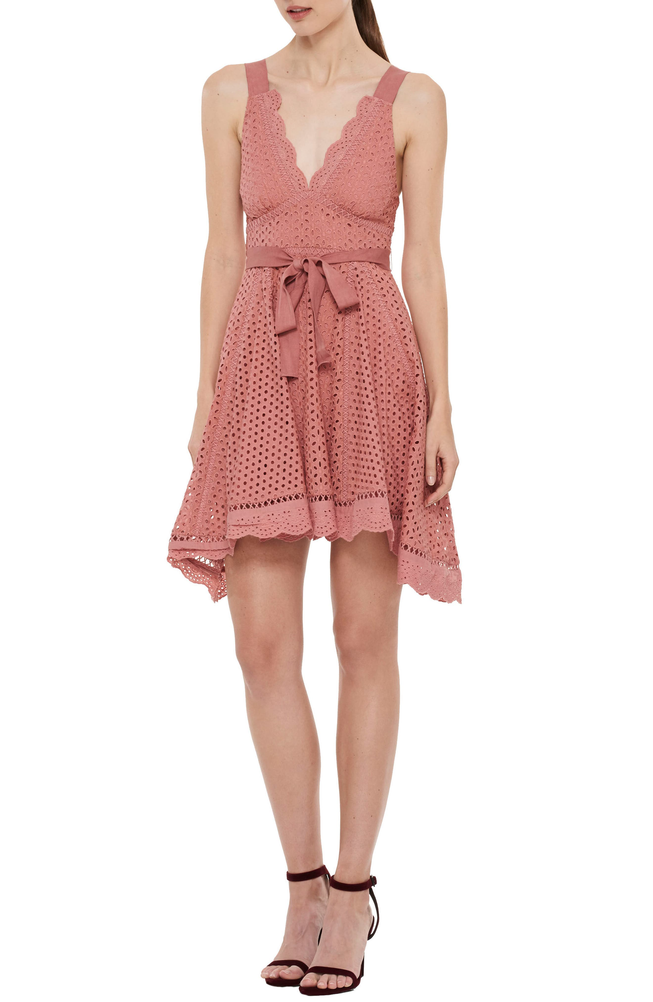 Rapture Eyelet Dress,                         Main,                         color, Rust