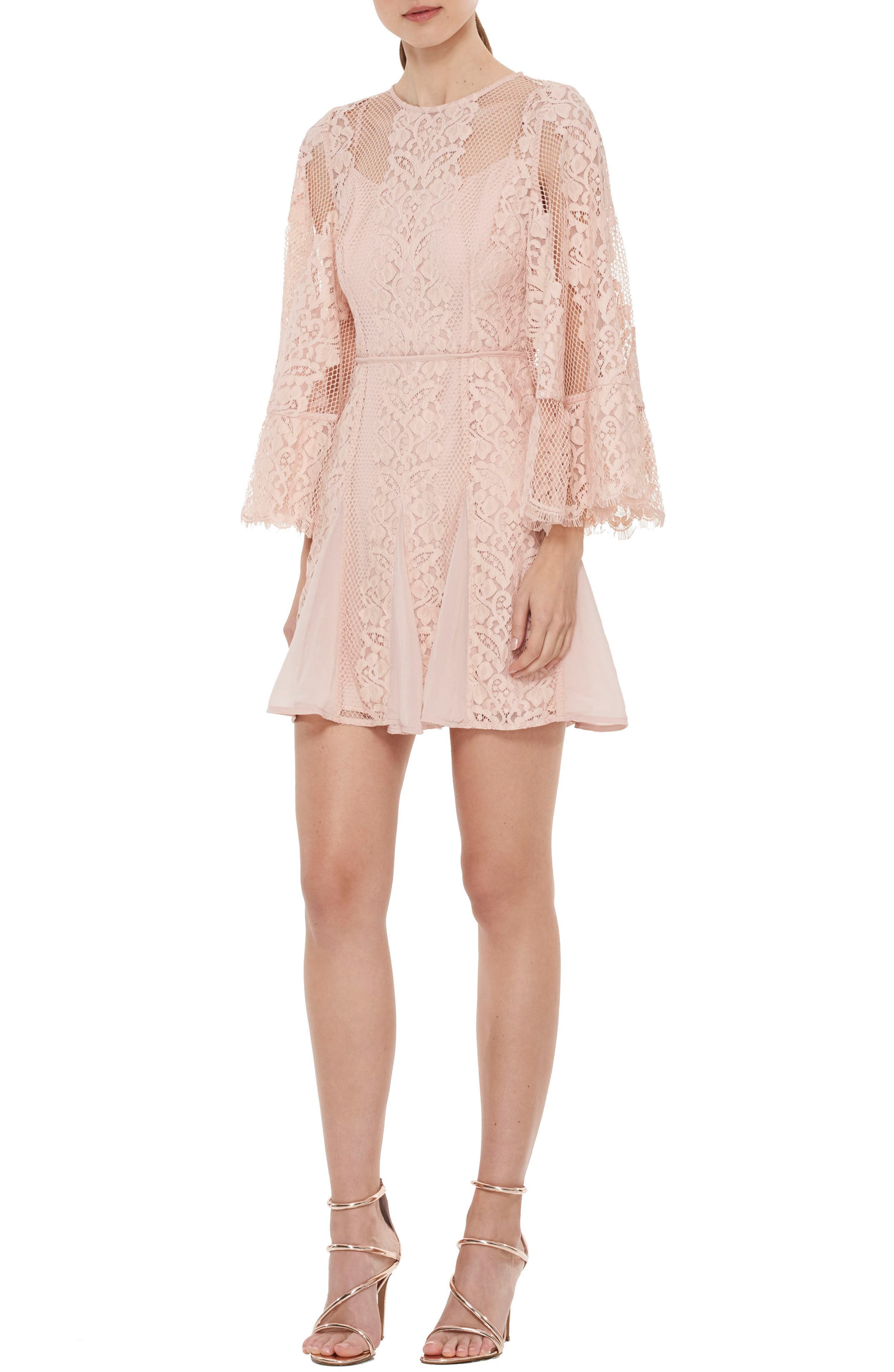Lust Over Bell Sleeve Lace Dress,                         Main,                         color, Peony