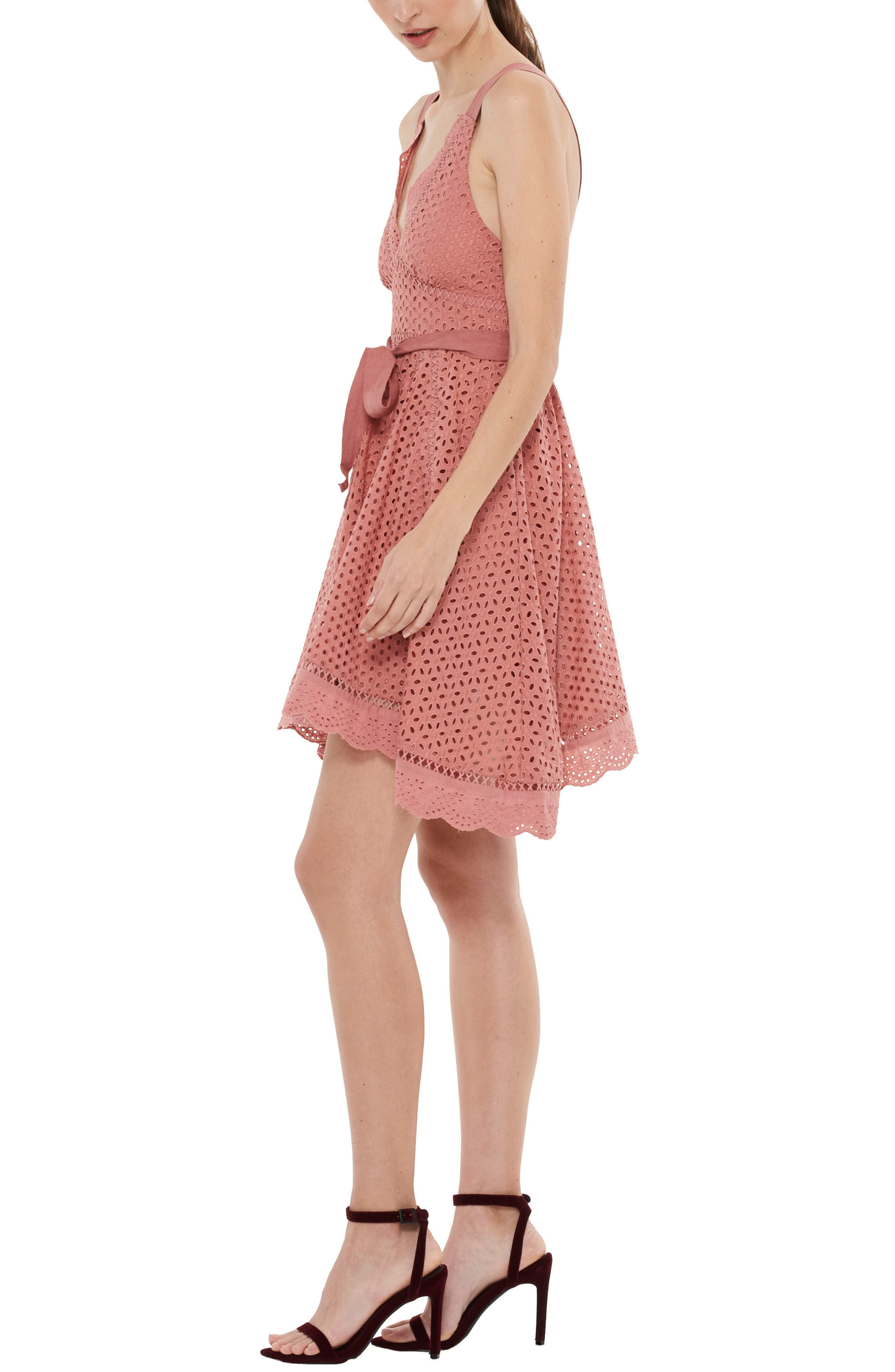 Rapture Eyelet Dress,                             Alternate thumbnail 3, color,                             Rust