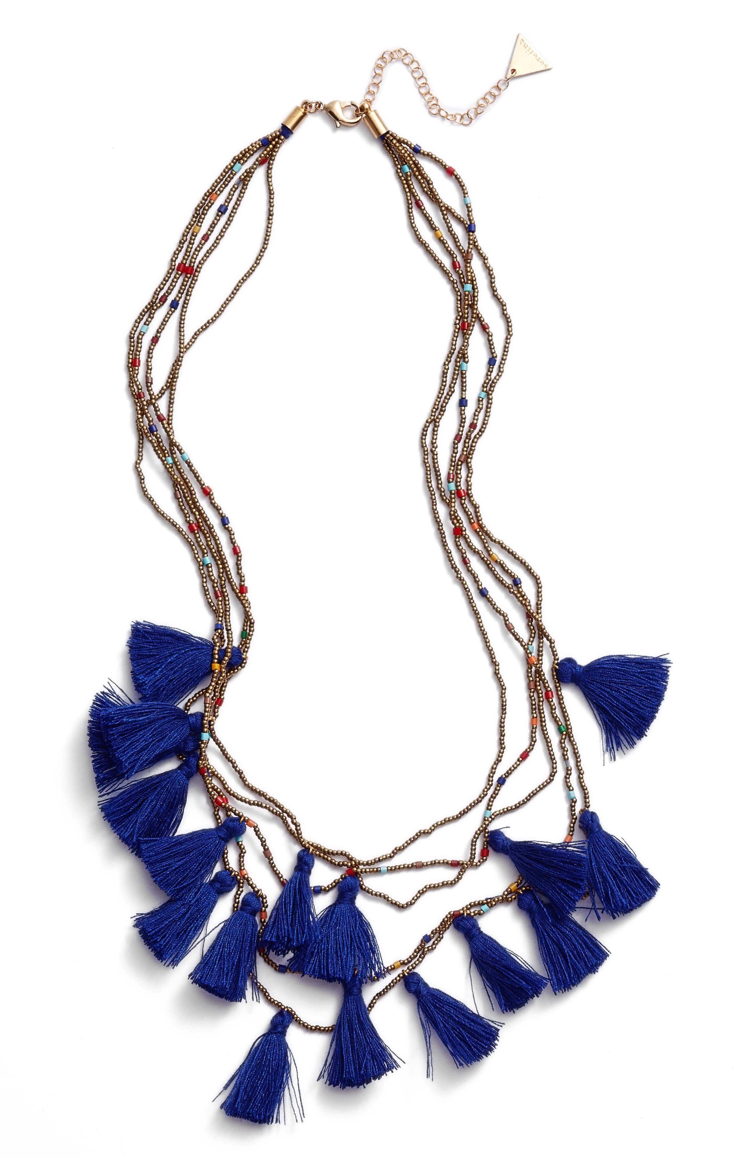 Layered Tassel Statement Necklace,                             Main thumbnail 1, color,                             Indigo
