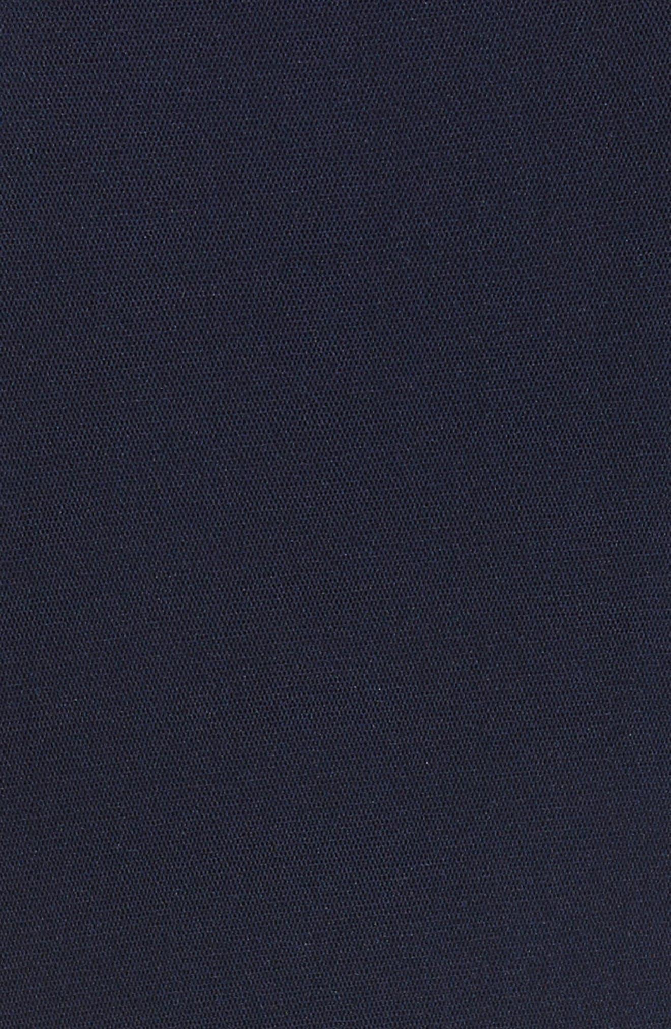 Ruffle V-Neck Body-Con Dress,                             Alternate thumbnail 6, color,                             Zaffiro