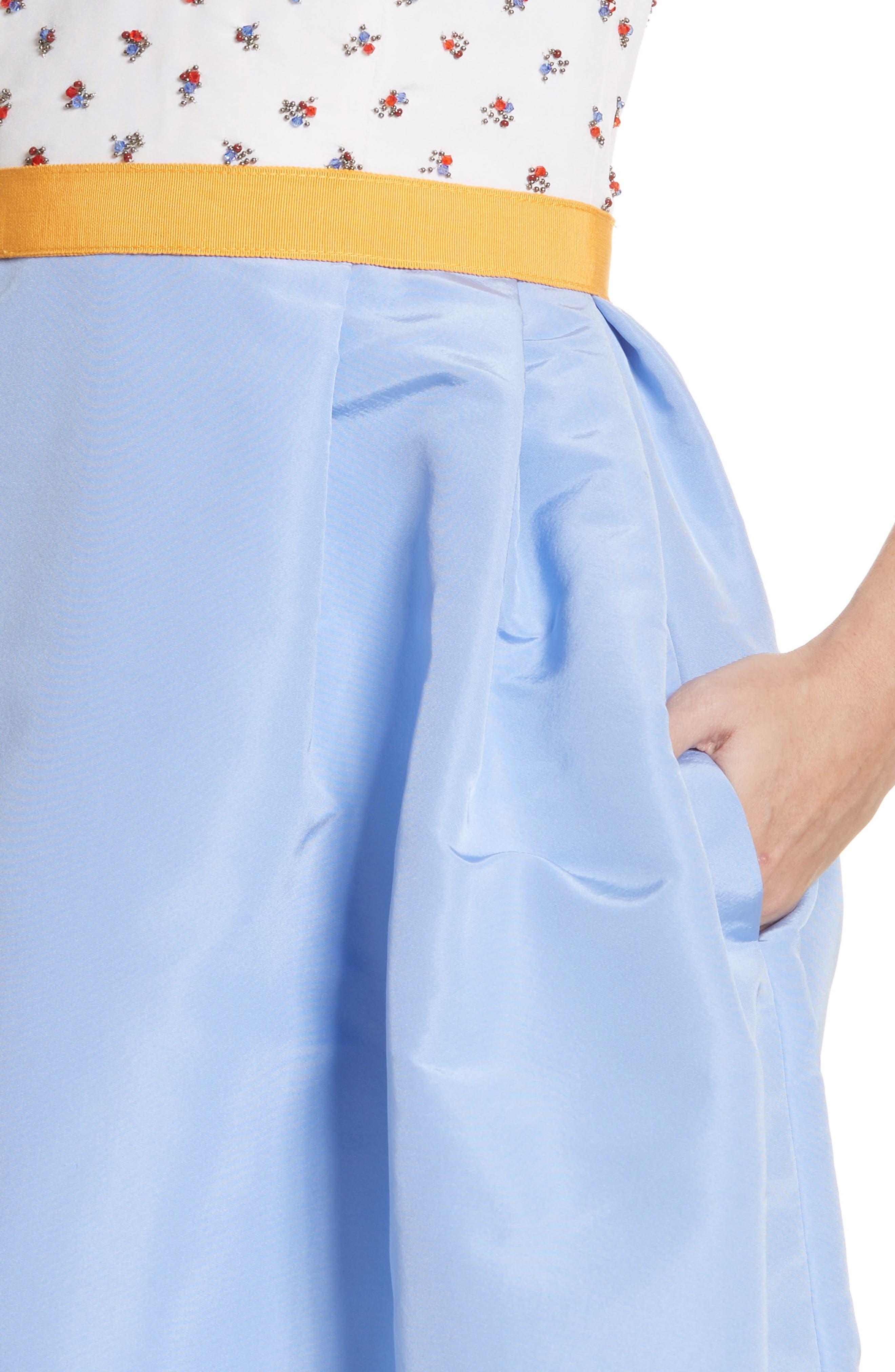 Beaded A-Line Silk Dress,                             Alternate thumbnail 4, color,                             White/ Cornflower