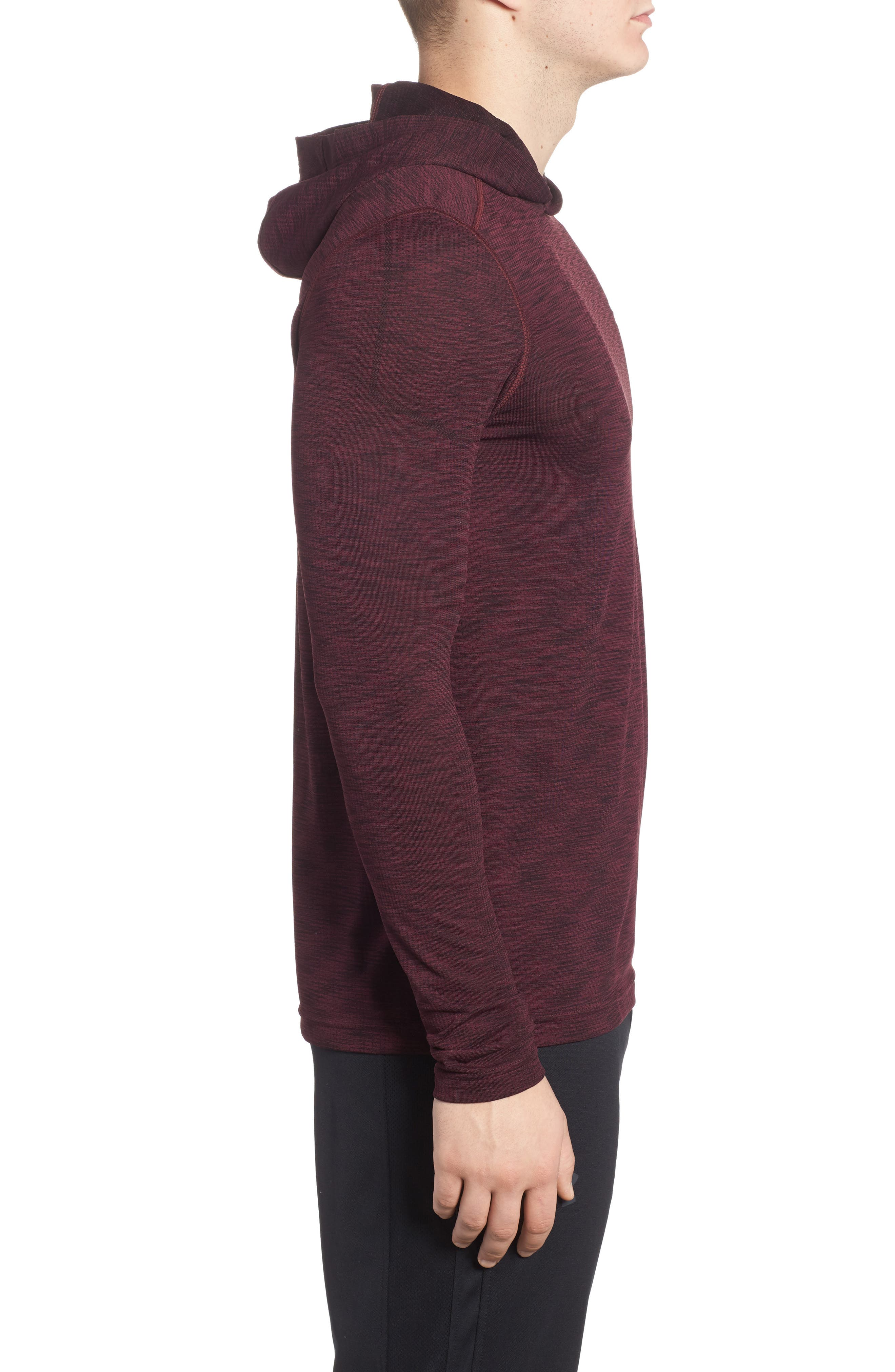 Threadbone Fitted Seamless Hoodie,                             Alternate thumbnail 3, color,                             Raisin Red / Stealth Grey
