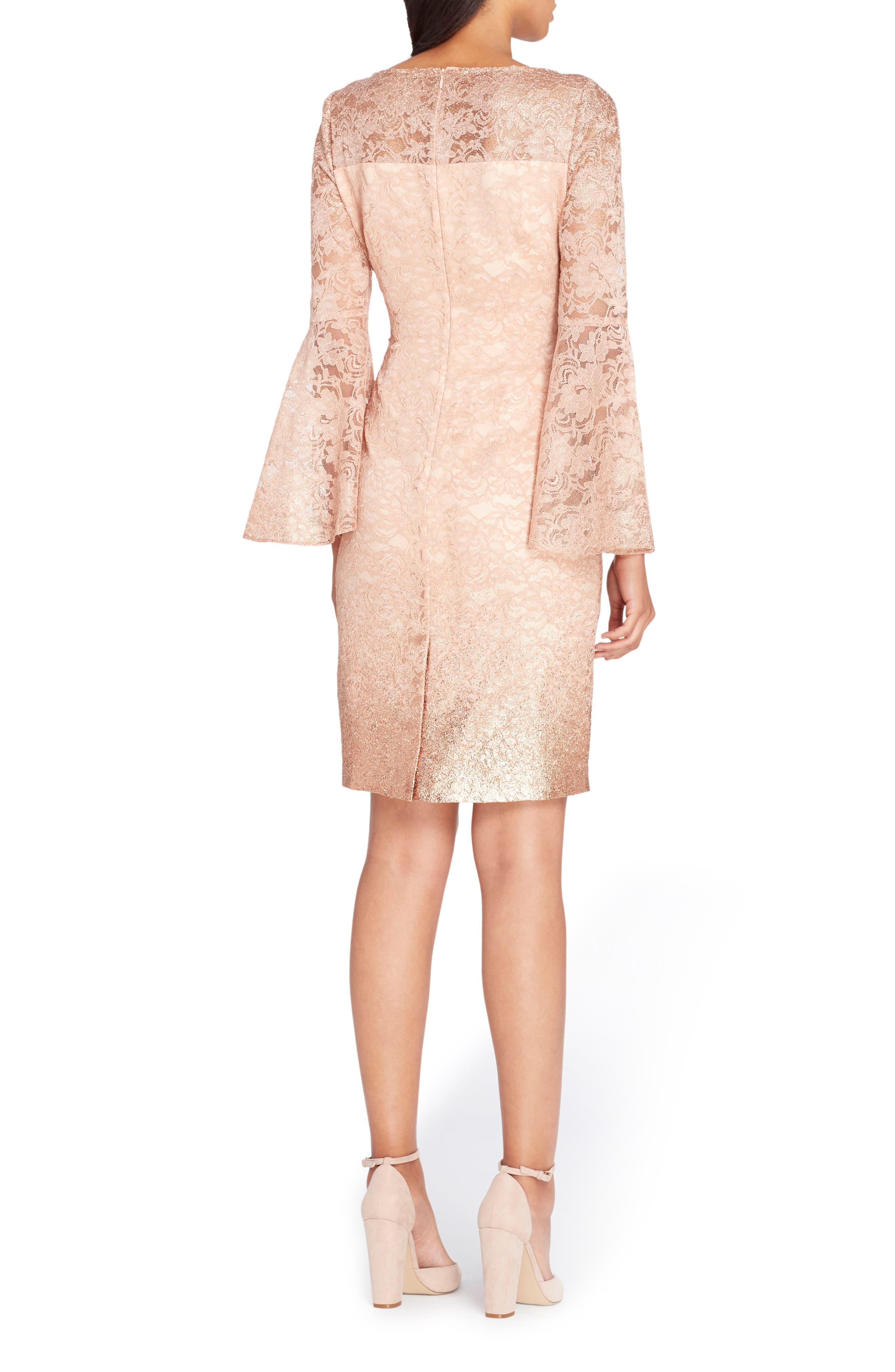 Alternate Image 2  - Tahari Lace Bell Sleeve Sheath Dress