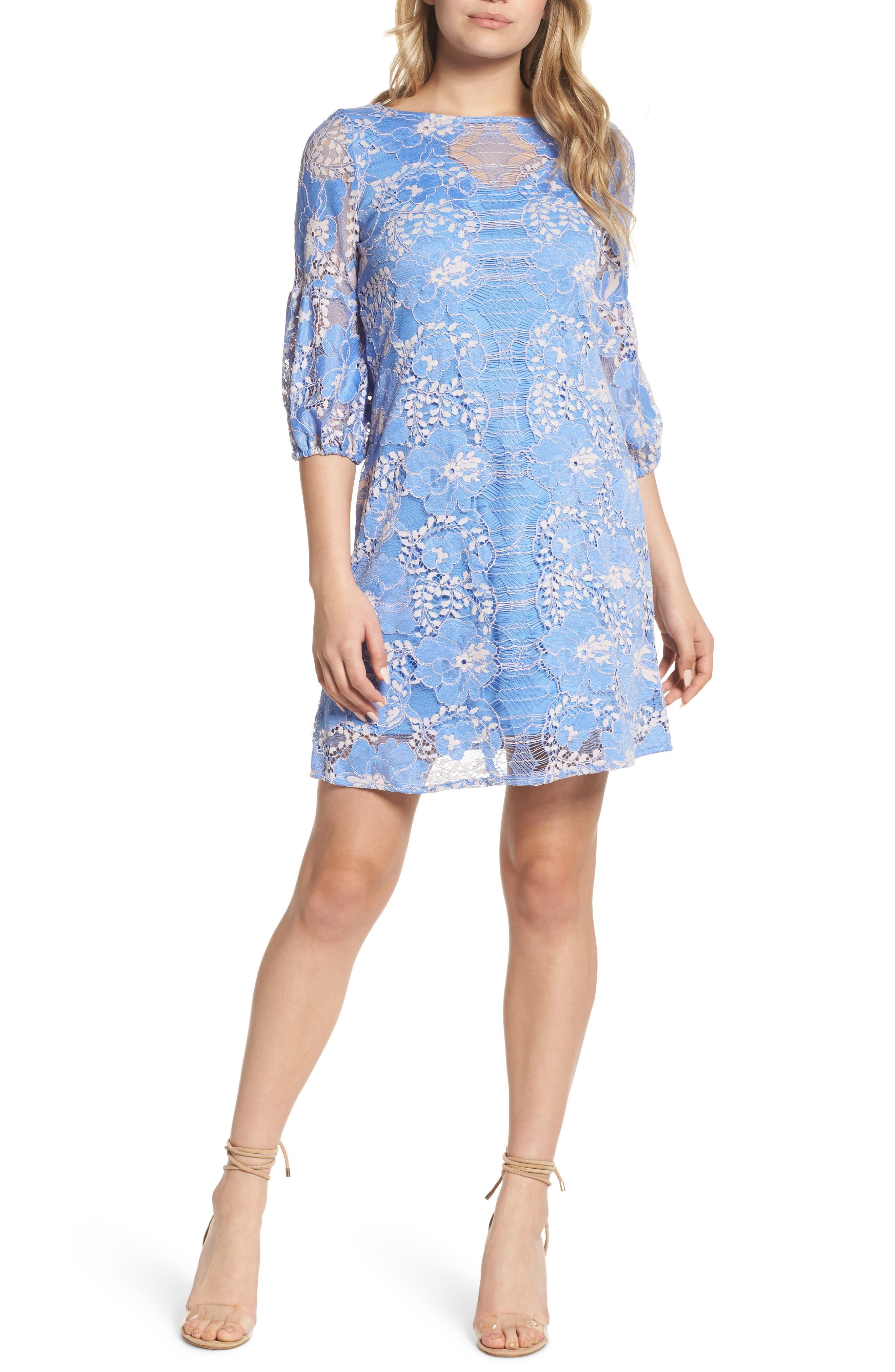 Lace Shift Dress,                             Main thumbnail 1, color,                             Blue/ Blush