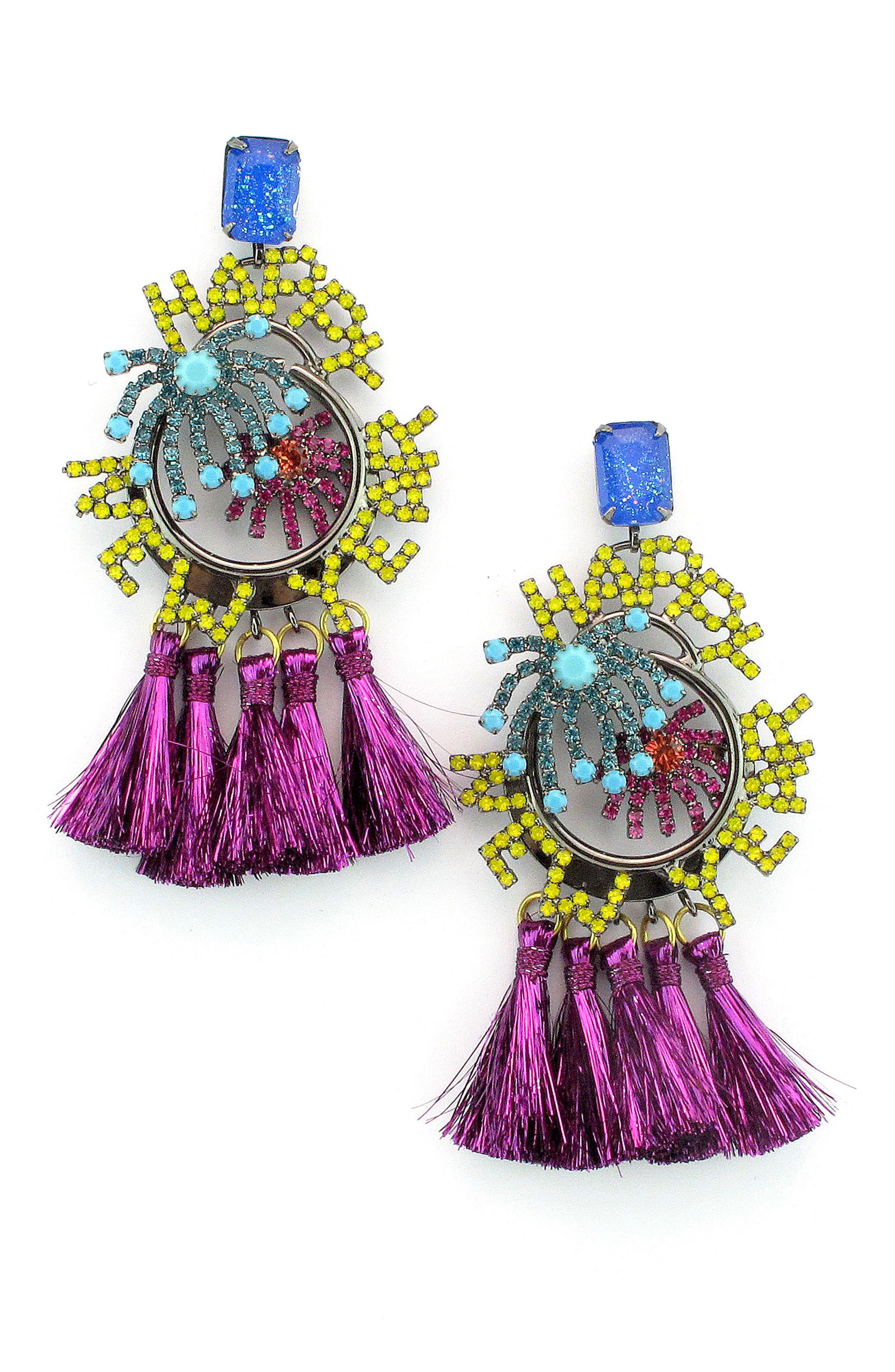 Happy New Year Crystal & Tassel Drop Earrings,                         Main,                         color, Red Multi