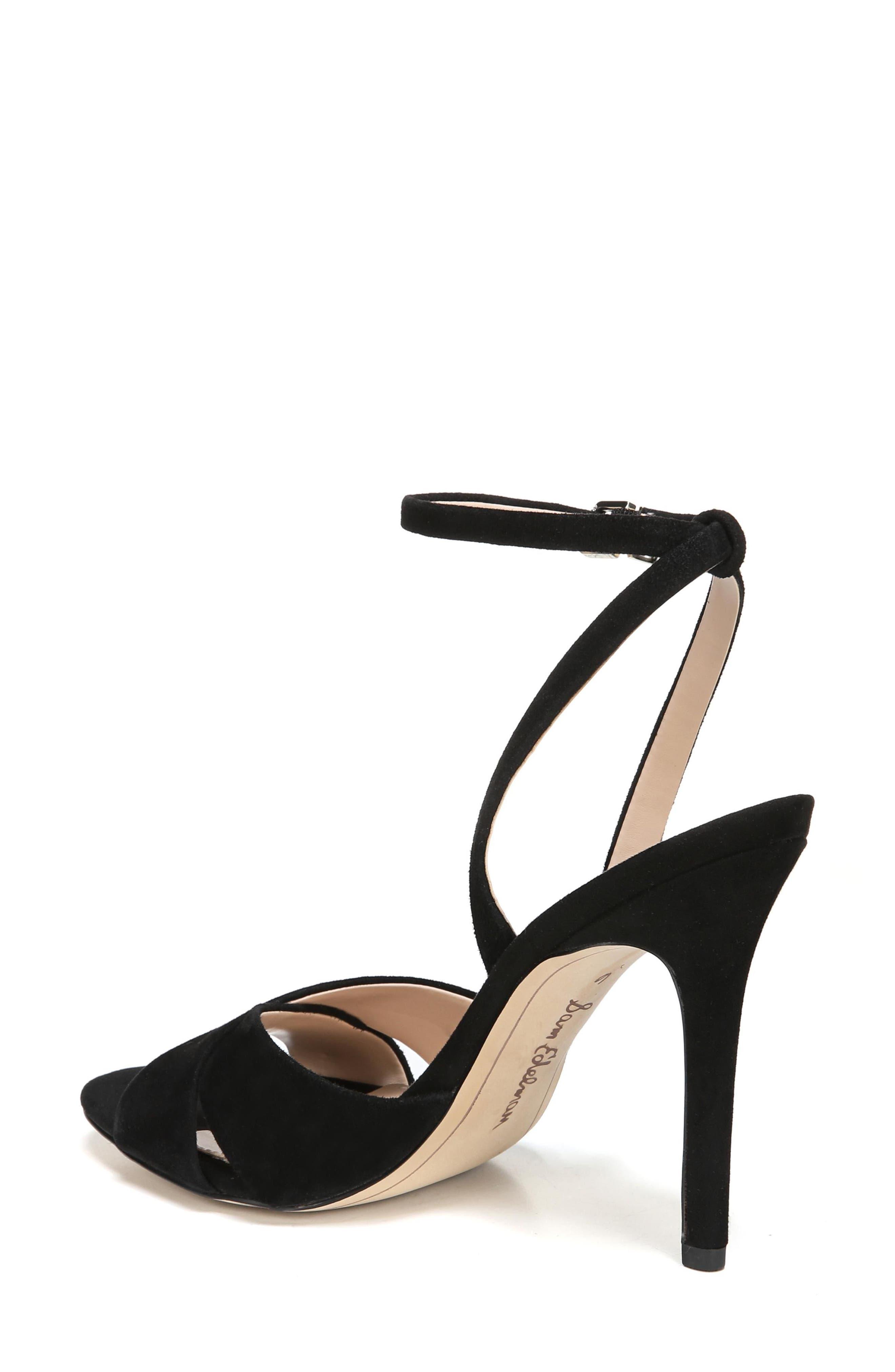 Aly Ankle Strap Sandal,                             Alternate thumbnail 2, color,                             Black Suede
