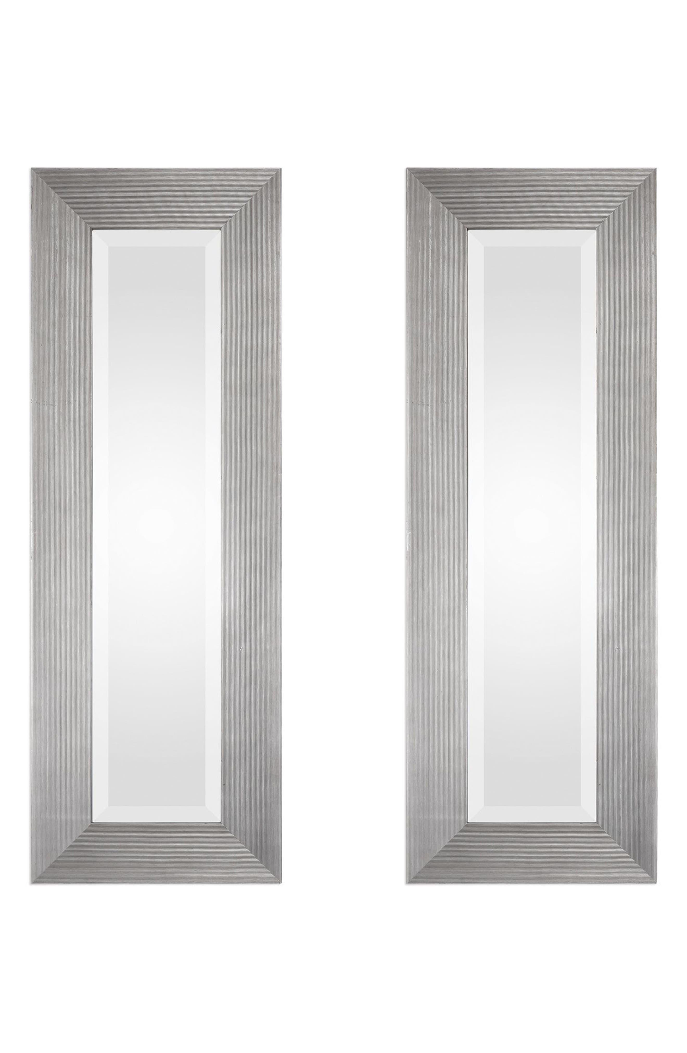Maldon Set of 2 Wall Mirrors,                         Main,                         color, Metallic Silver