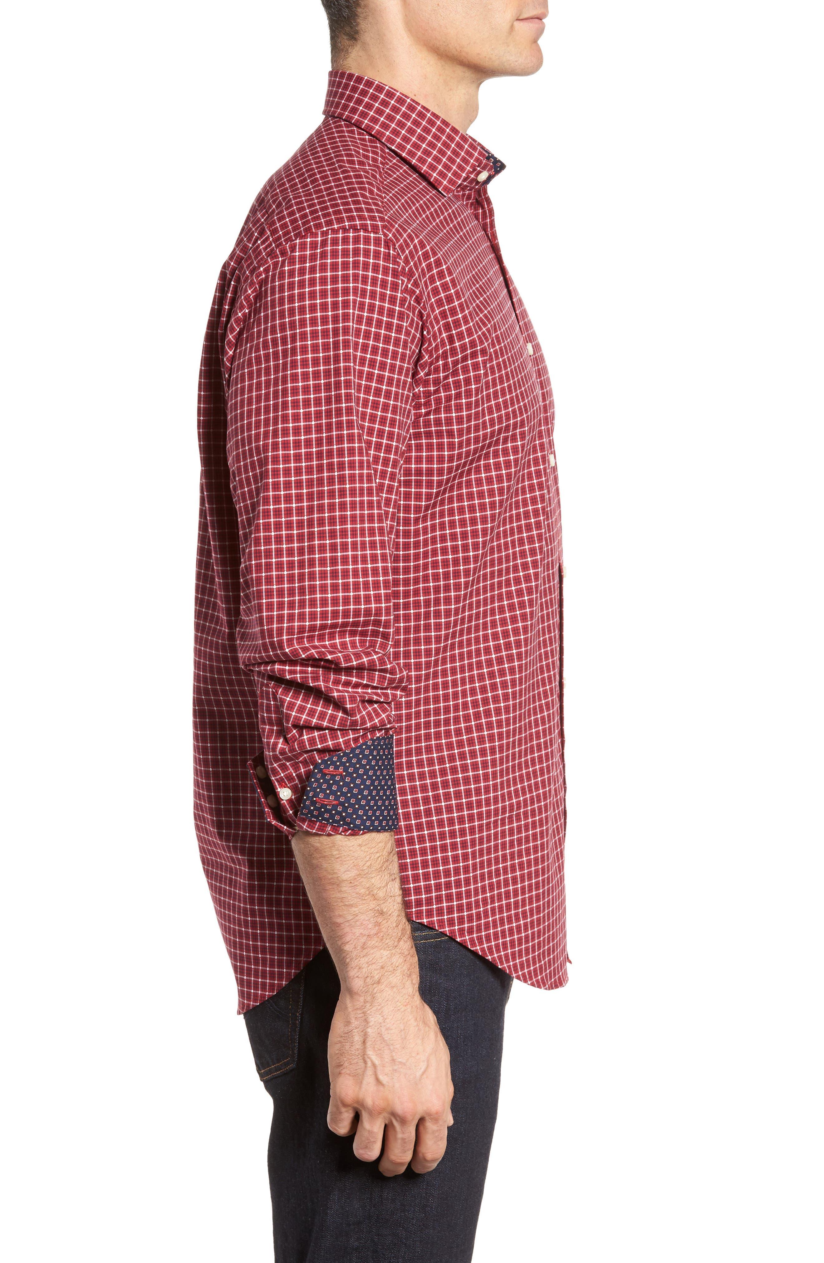 Regular Fit Plaid Sport Shirt,                             Alternate thumbnail 3, color,                             Red