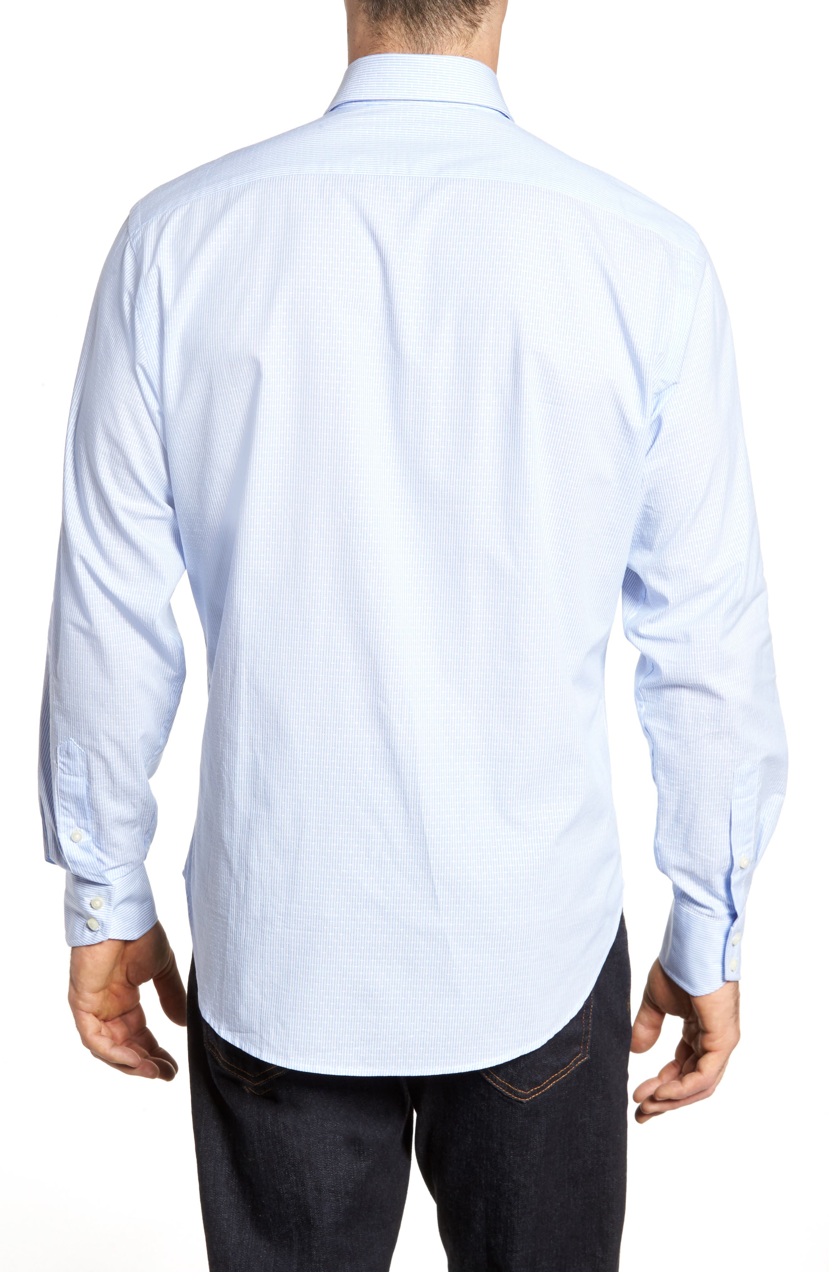 Regular Fit Stripe Sport Shirt,                             Alternate thumbnail 2, color,                             Blue