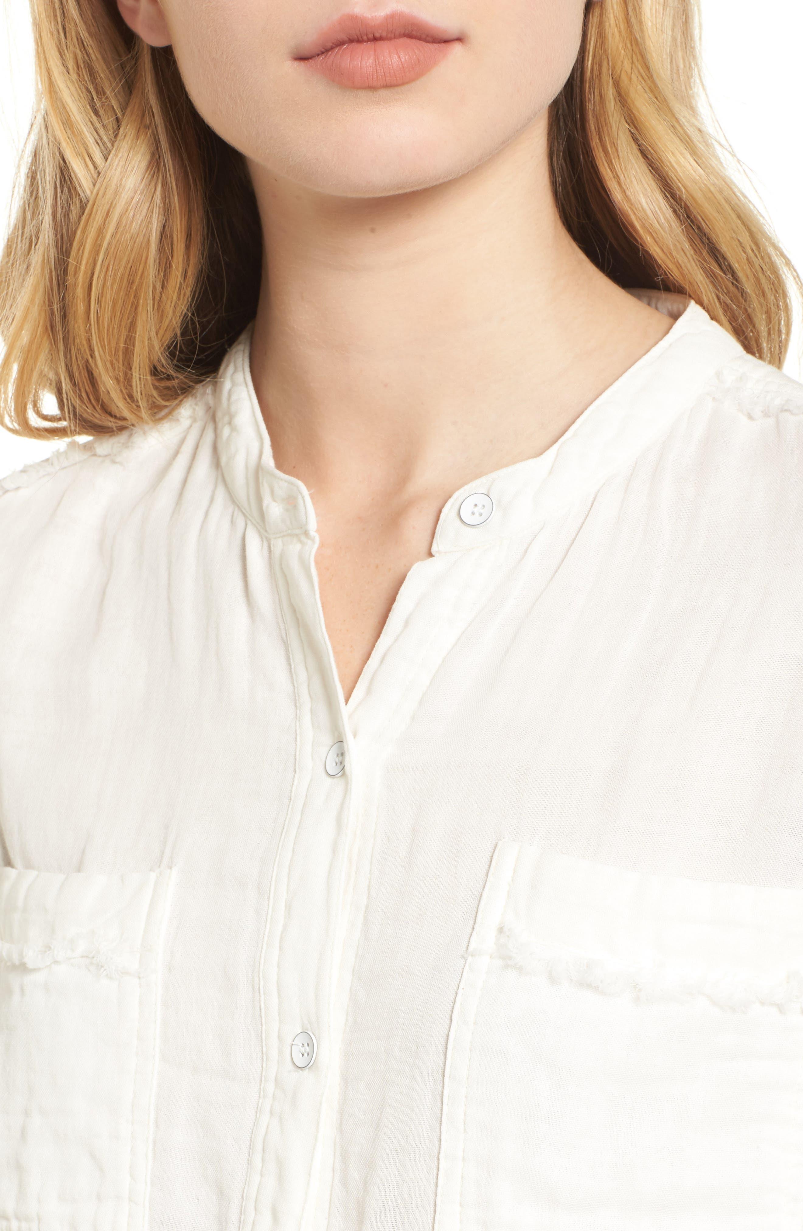 Button Front Shirt,                             Alternate thumbnail 4, color,                             Off White