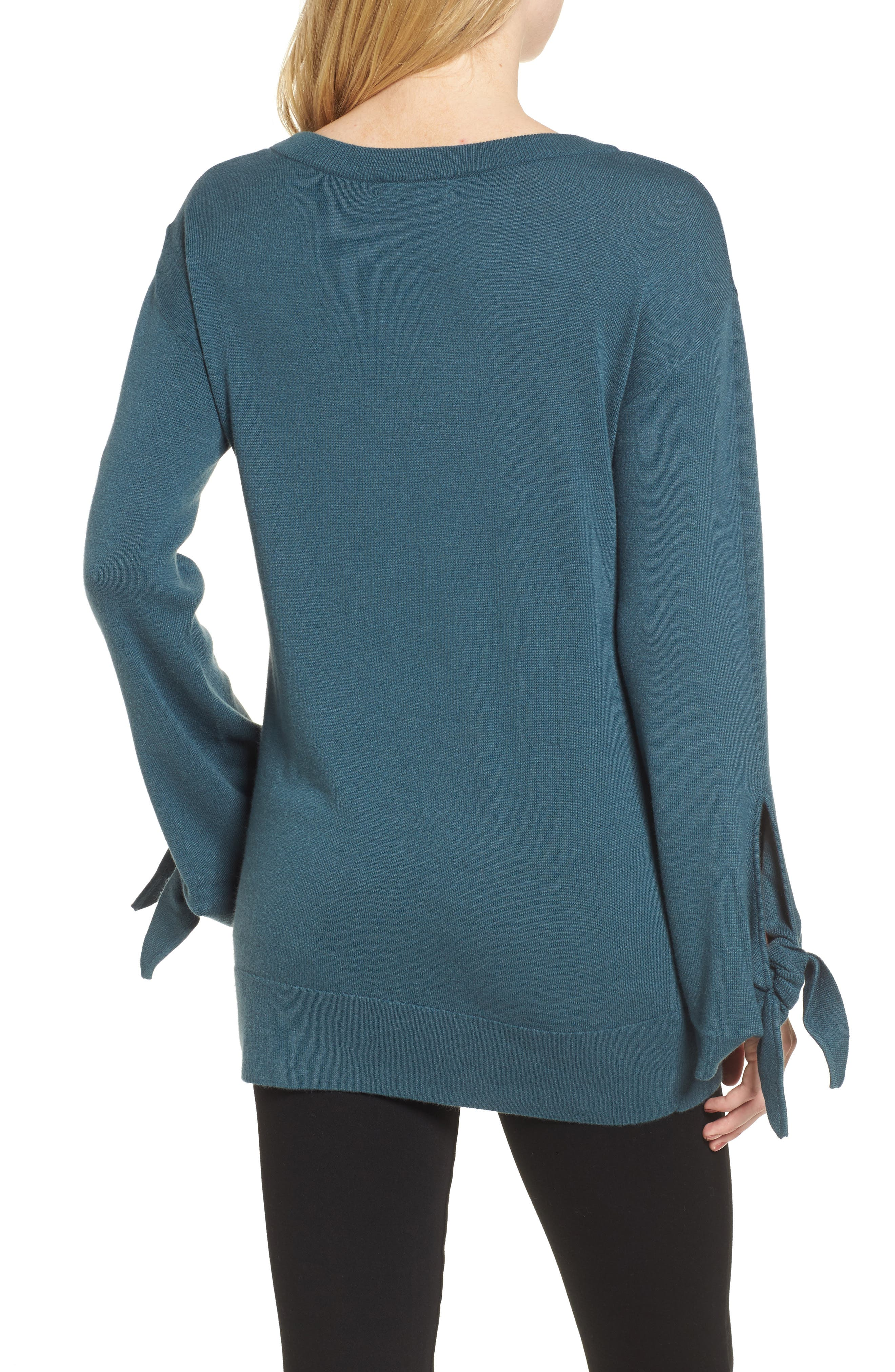 Tie Sleeve Sweater,                             Alternate thumbnail 2, color,                             Teal Gazer