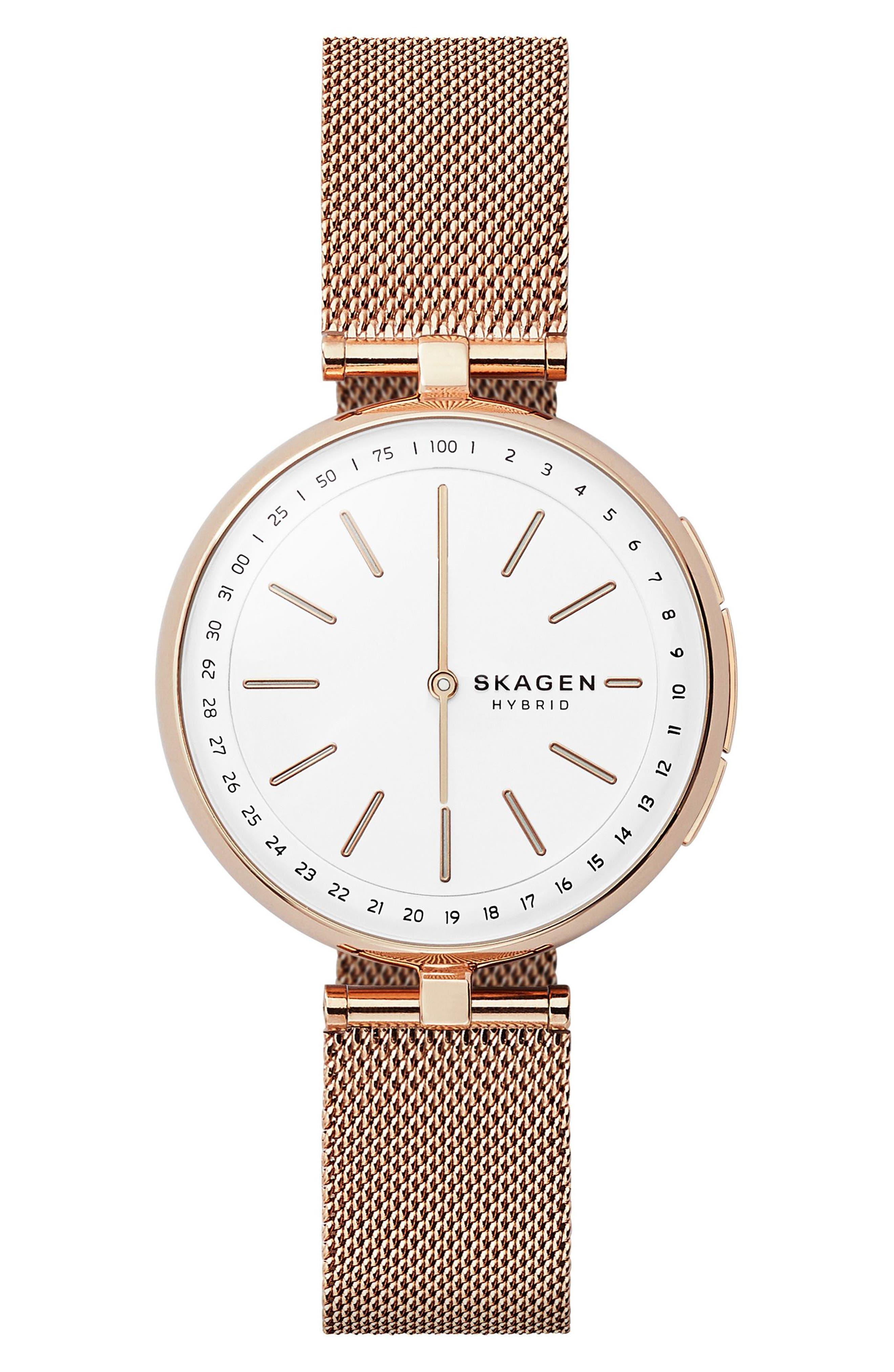 Main Image - Skagen Signatur Connected T-Bar Mesh Strap Hybrid Smart Watch, 36mm