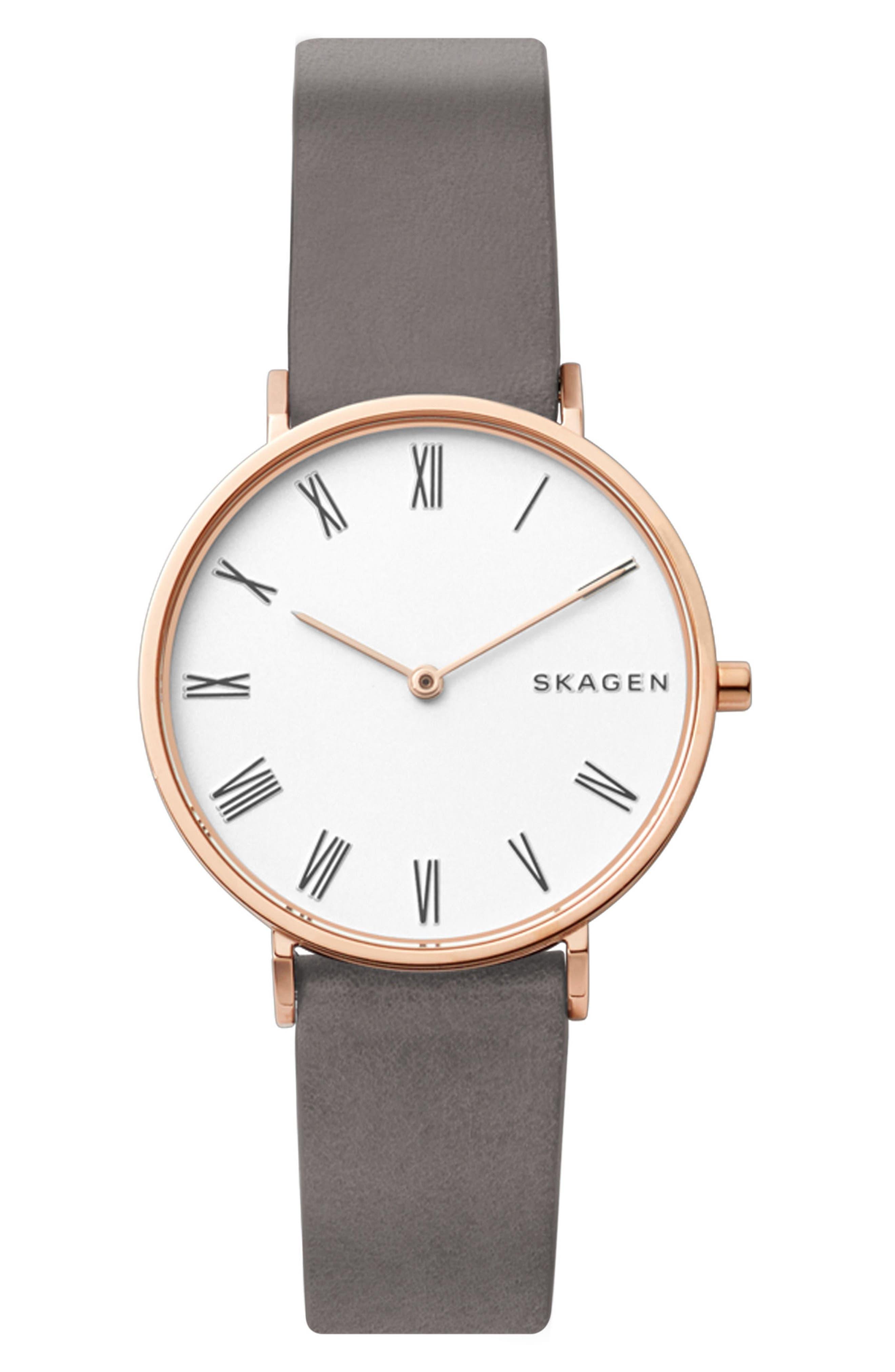 Main Image - Skagen Slim Hald Leather Strap Watch, 34mm