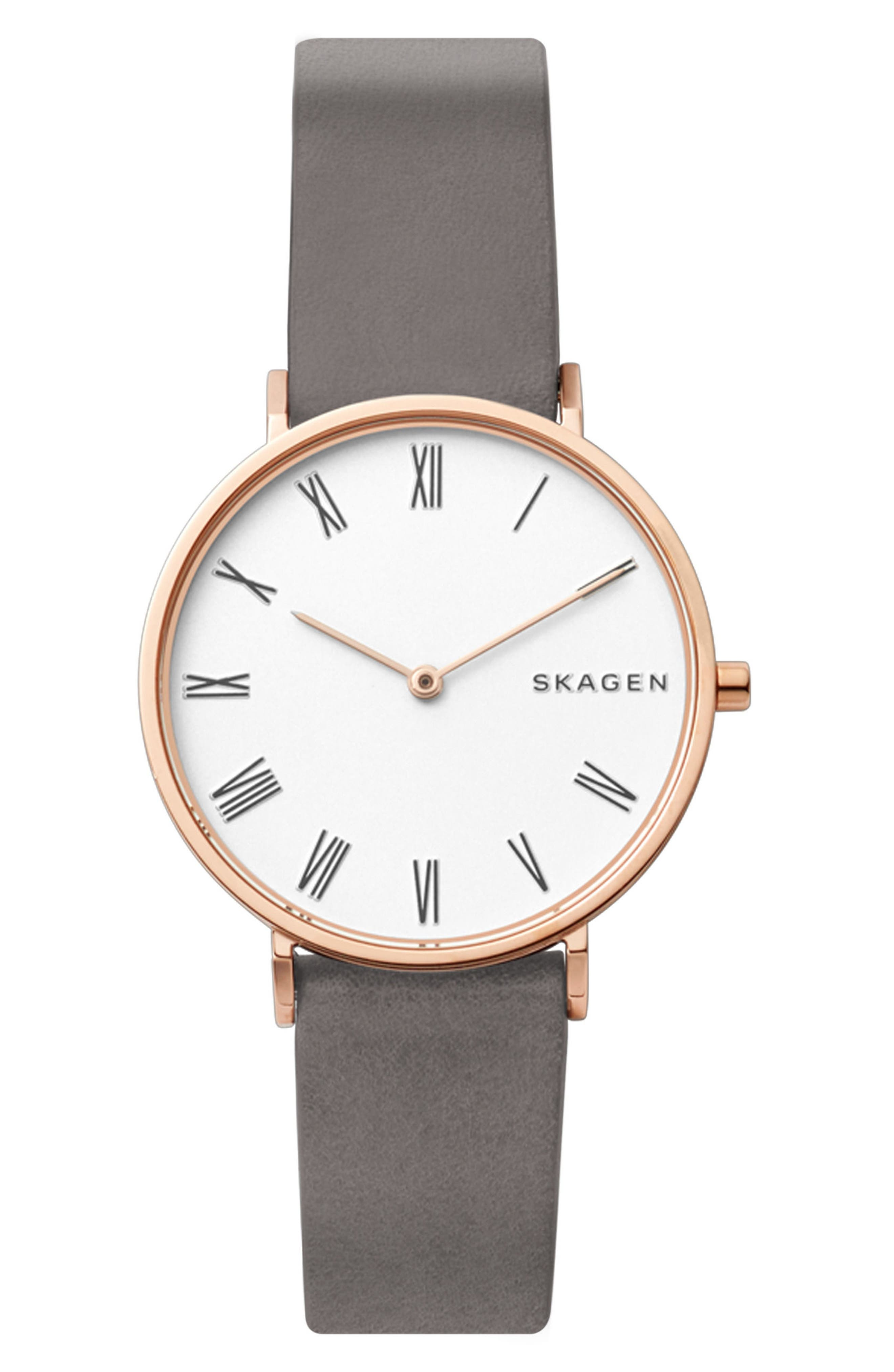 Slim Hald Leather Strap Watch, 34mm,                         Main,                         color, Grey/ White/ Rose Gold