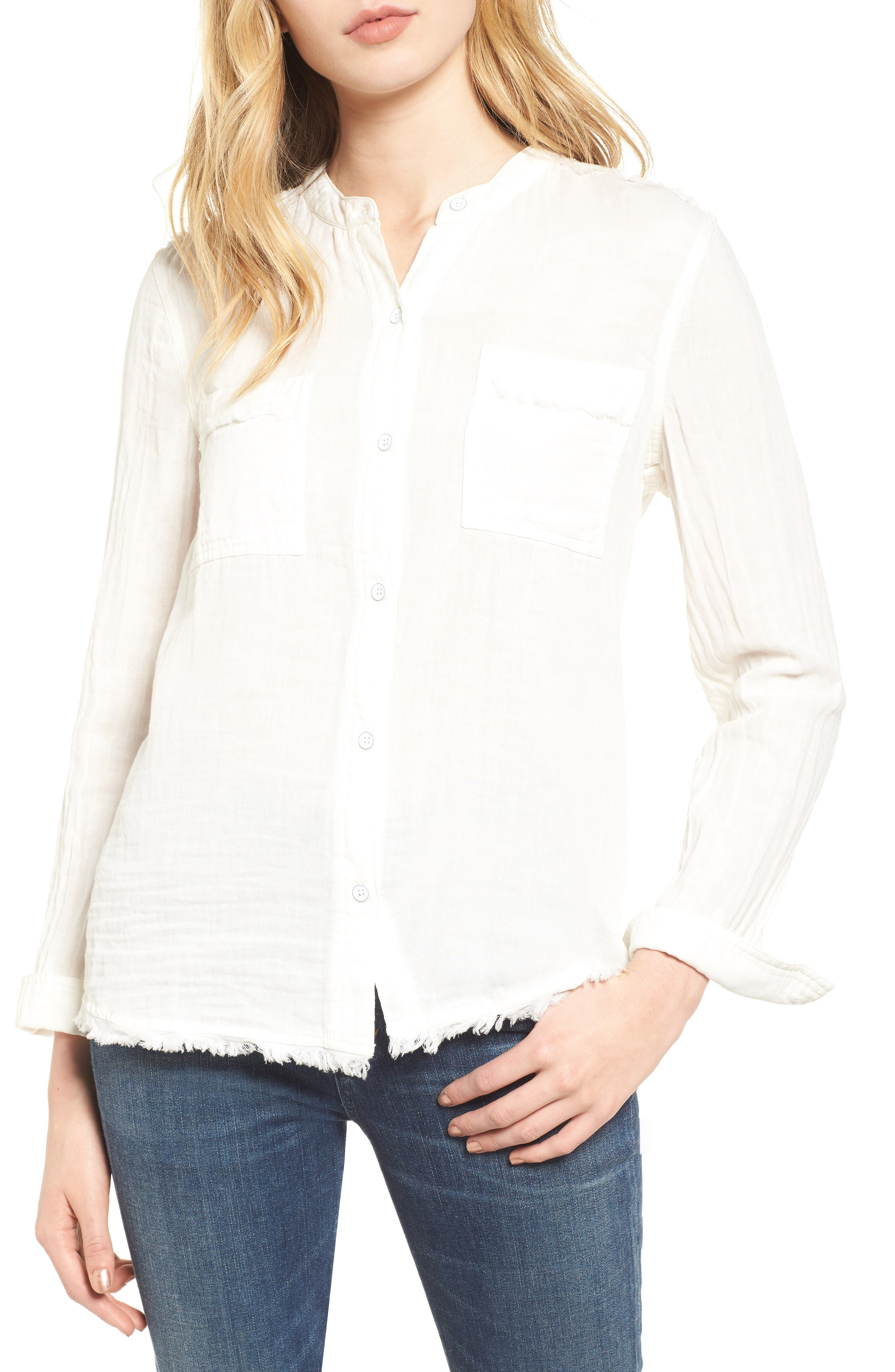 Button Front Shirt,                         Main,                         color, Off White