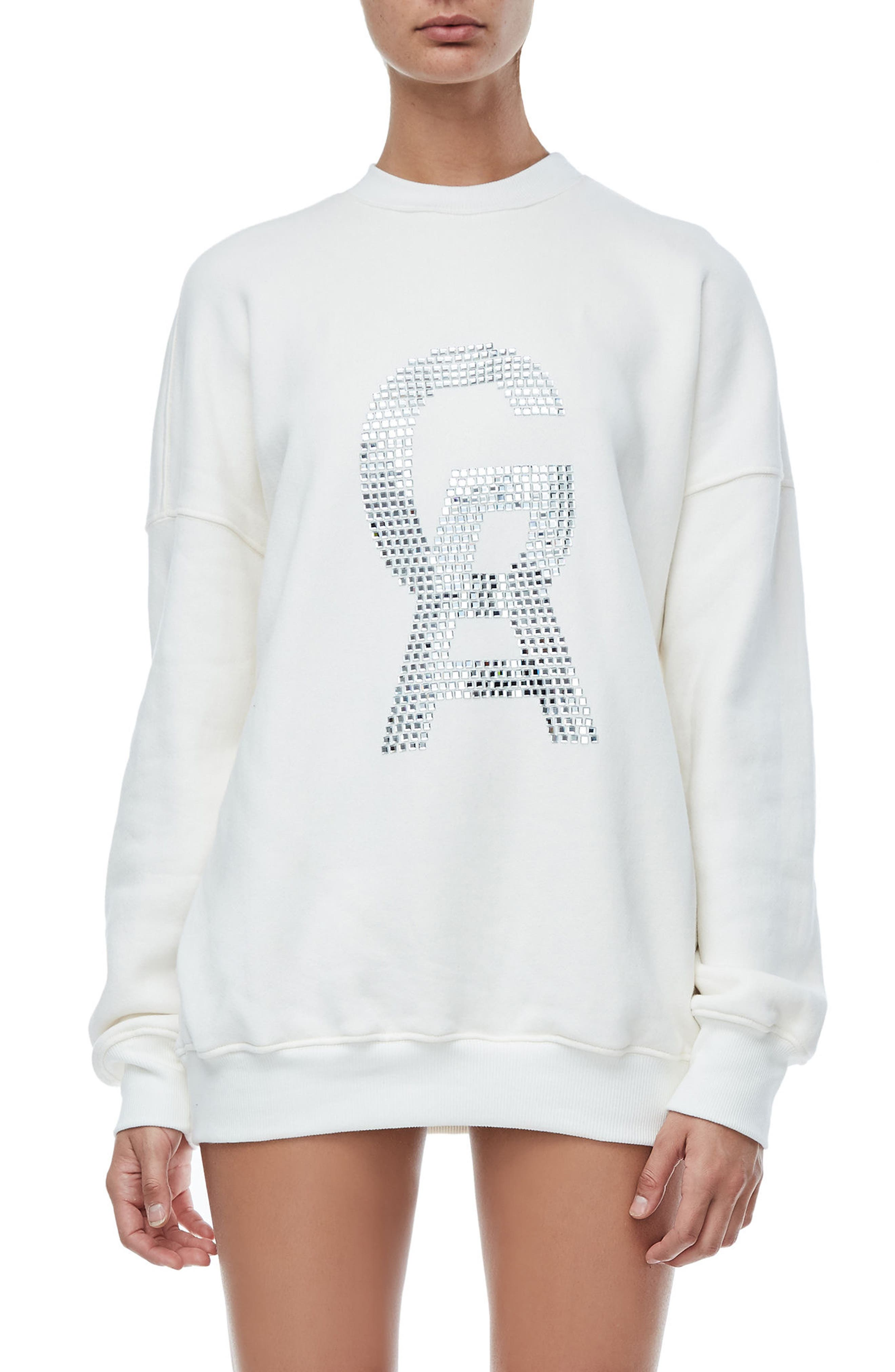 The Crystal Icon Sweatshirt,                             Main thumbnail 1, color,                             Good White