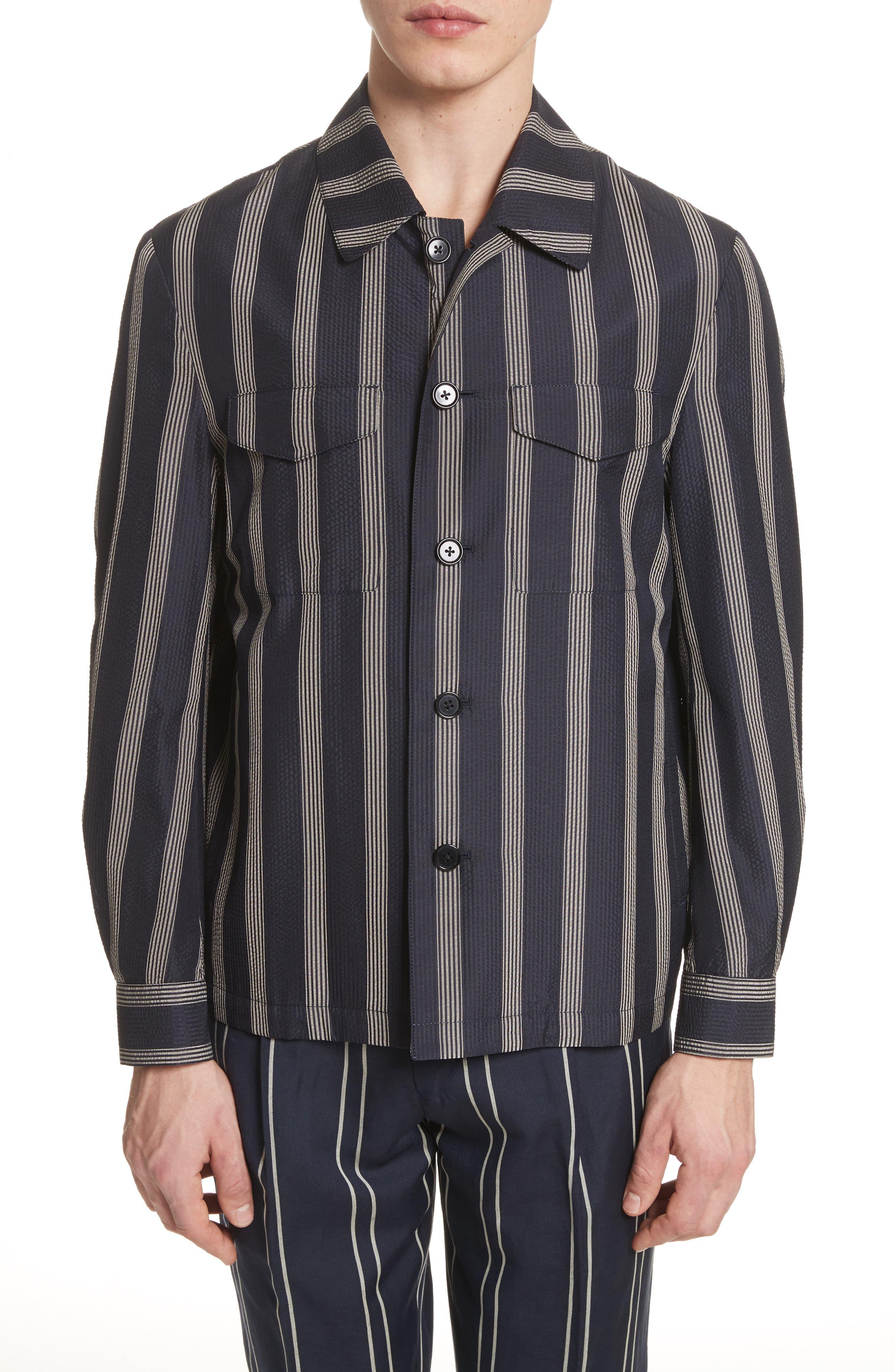 Stripe Silk Shirt,                         Main,                         color, Black/White