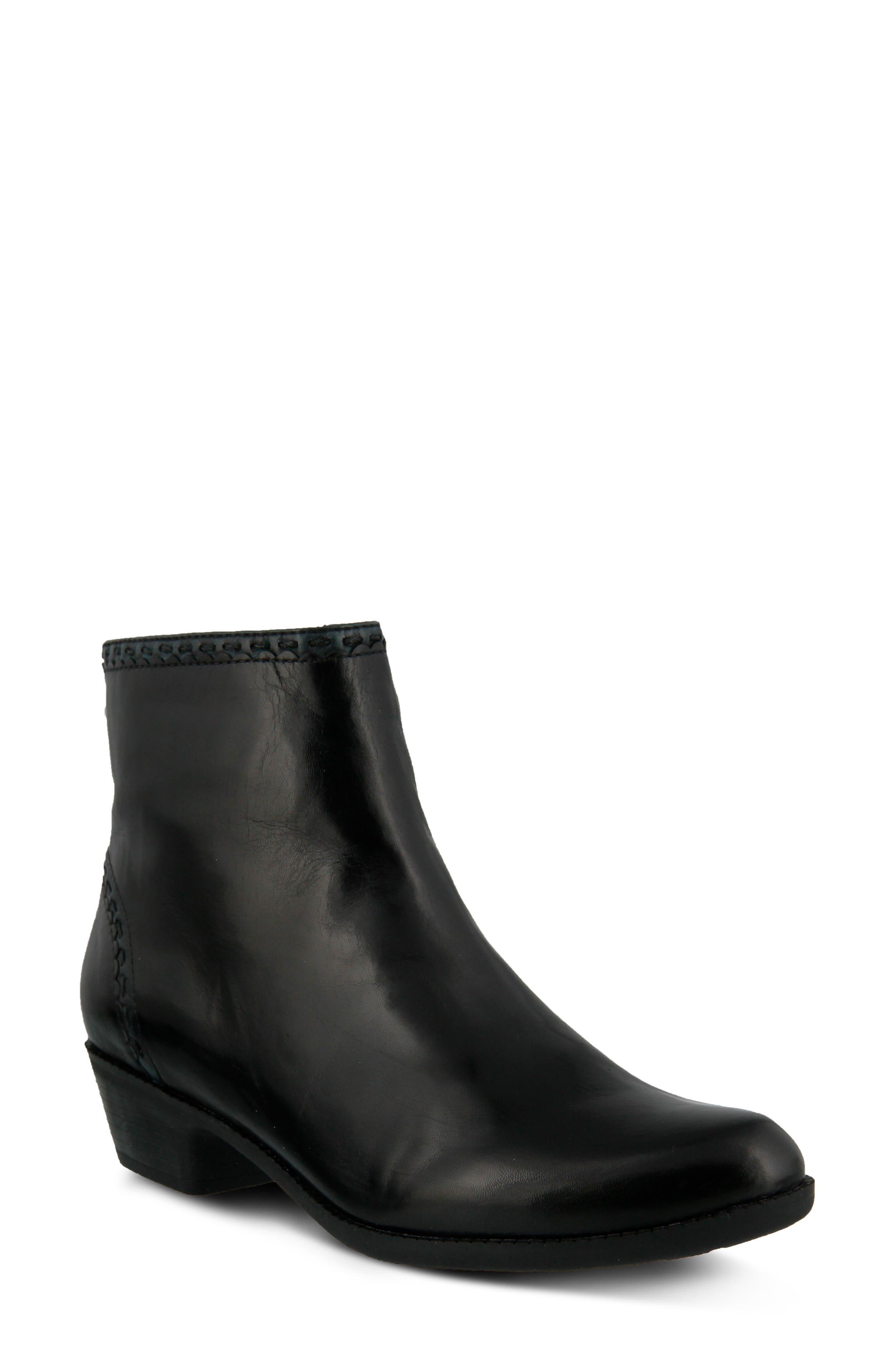 Micaela Bootie,                         Main,                         color, Black Leather