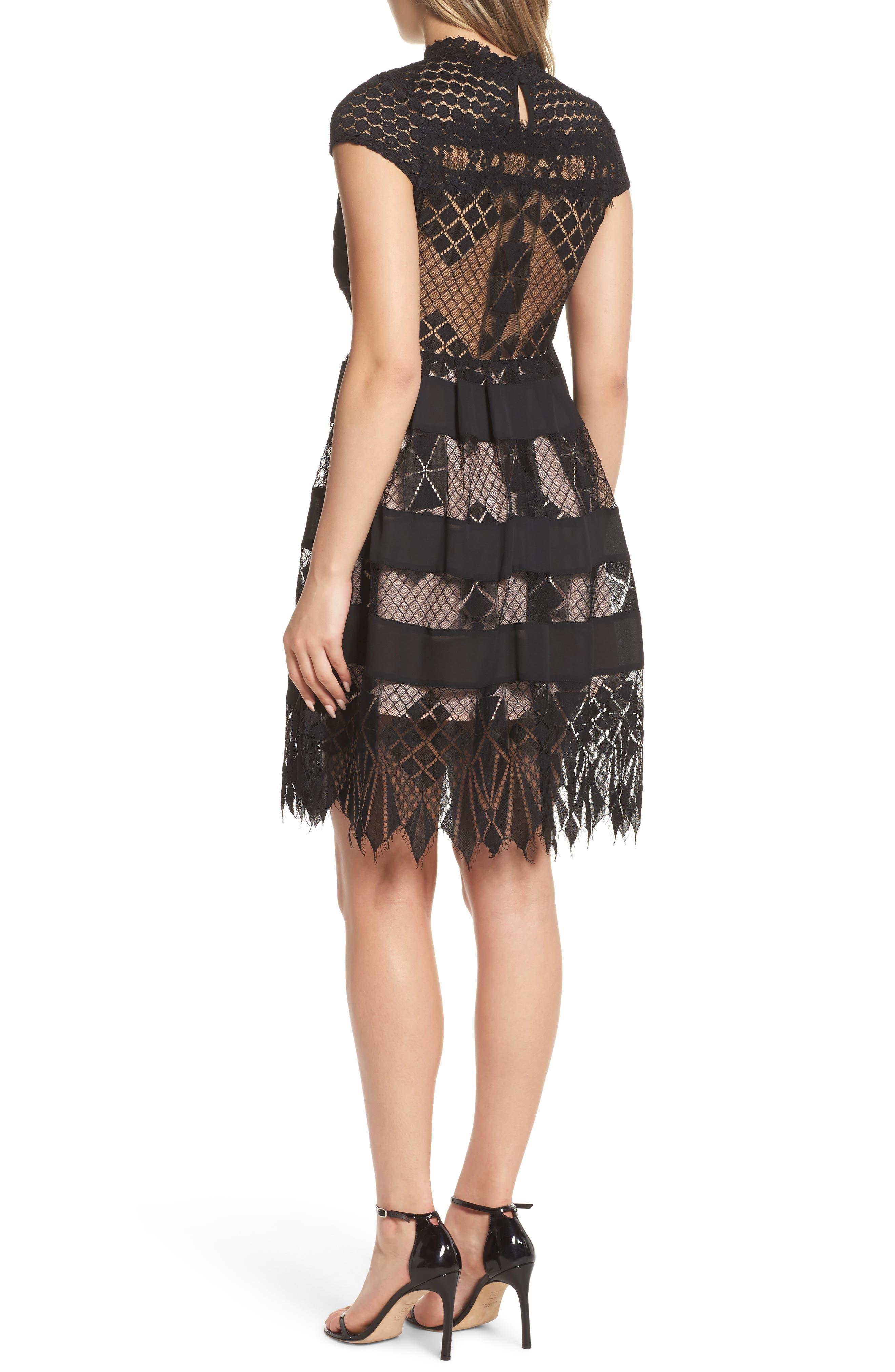 Alternate Image 2  - Foxiedox Bravo Zulu Lacy Paneled Fit & Flare Dress