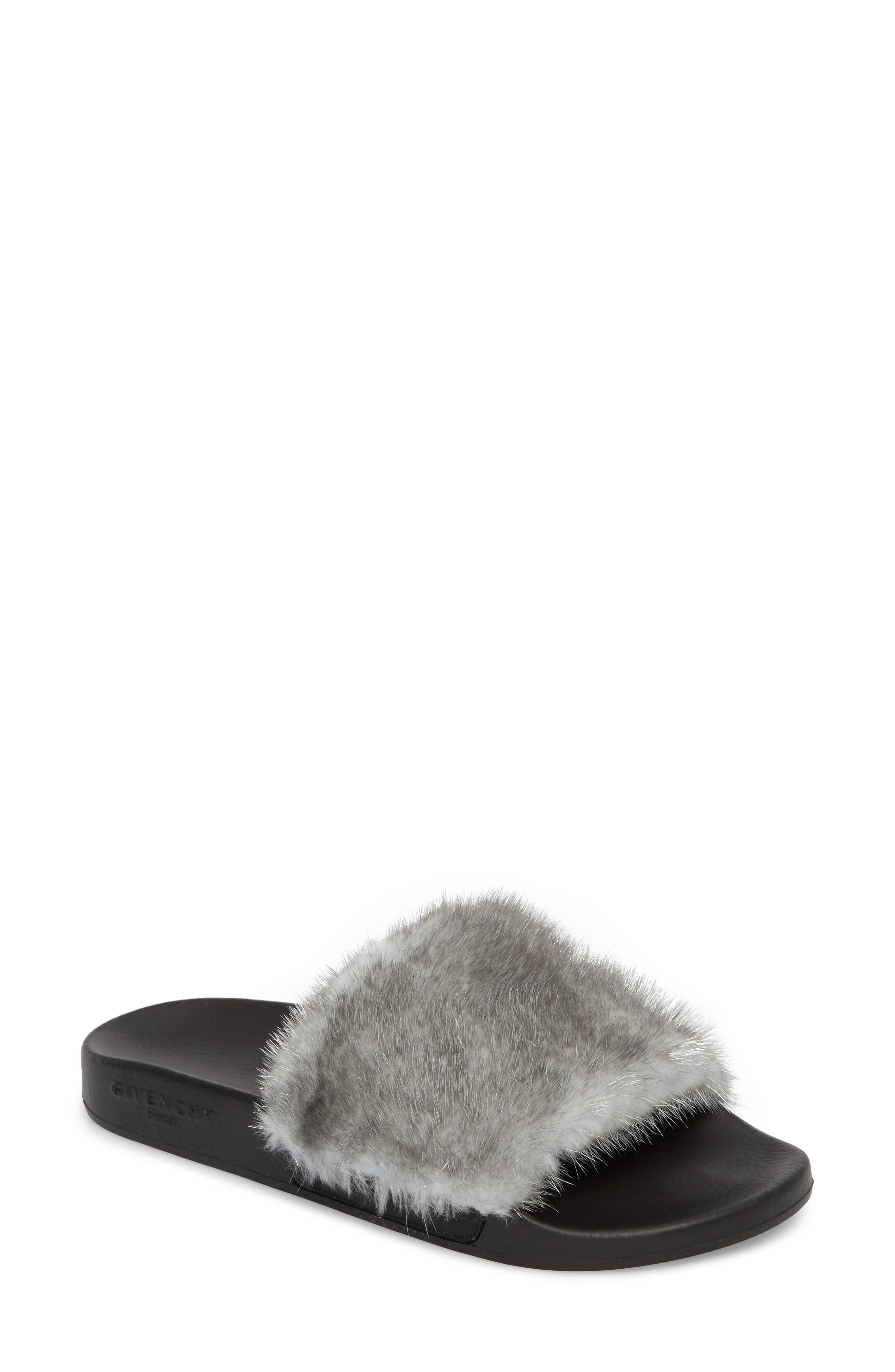 Genuine Mink Fur Slide Sandal,                             Main thumbnail 1, color,                             Silver